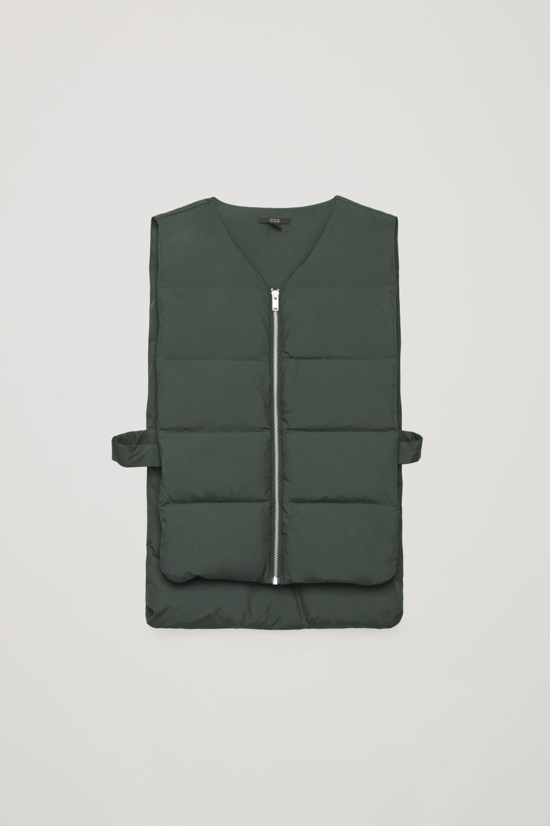 Front image of Cos v-neck padded gilet  in green