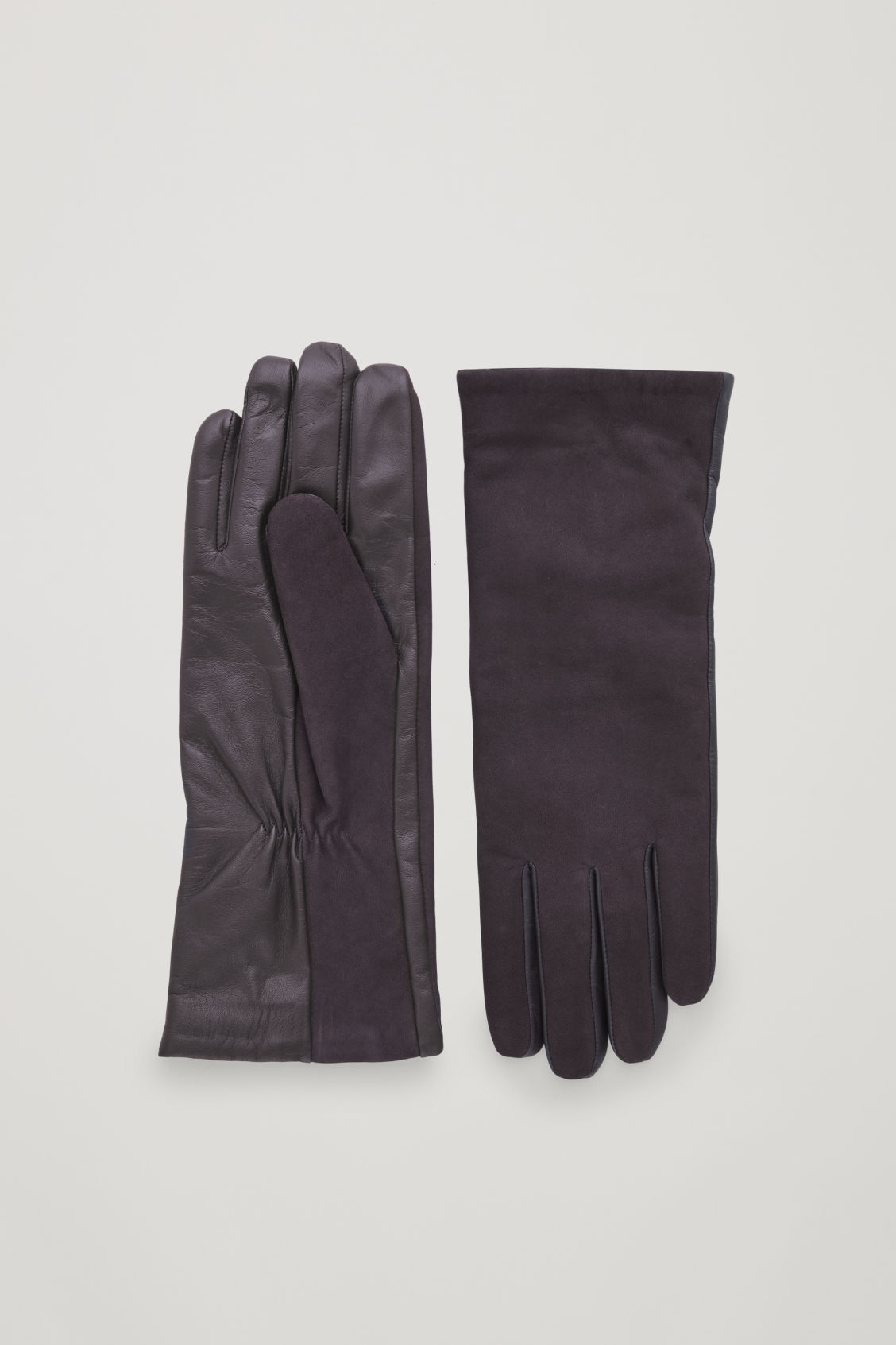 Front image of Cos suede-panelled leather gloves in burgundy