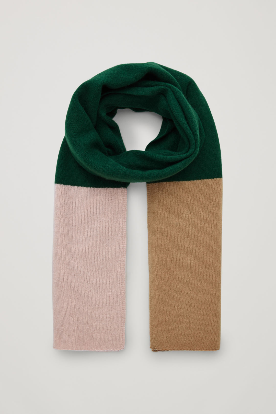 Front image of Cos colour-block cashmere scarf in green
