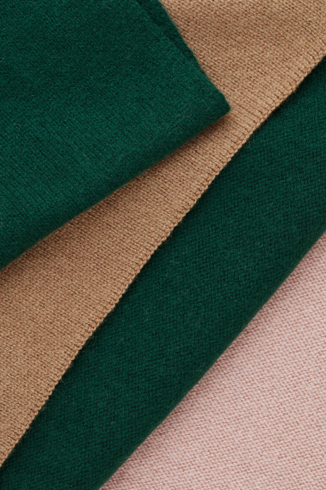 Side image of Cos colour-block cashmere scarf in green