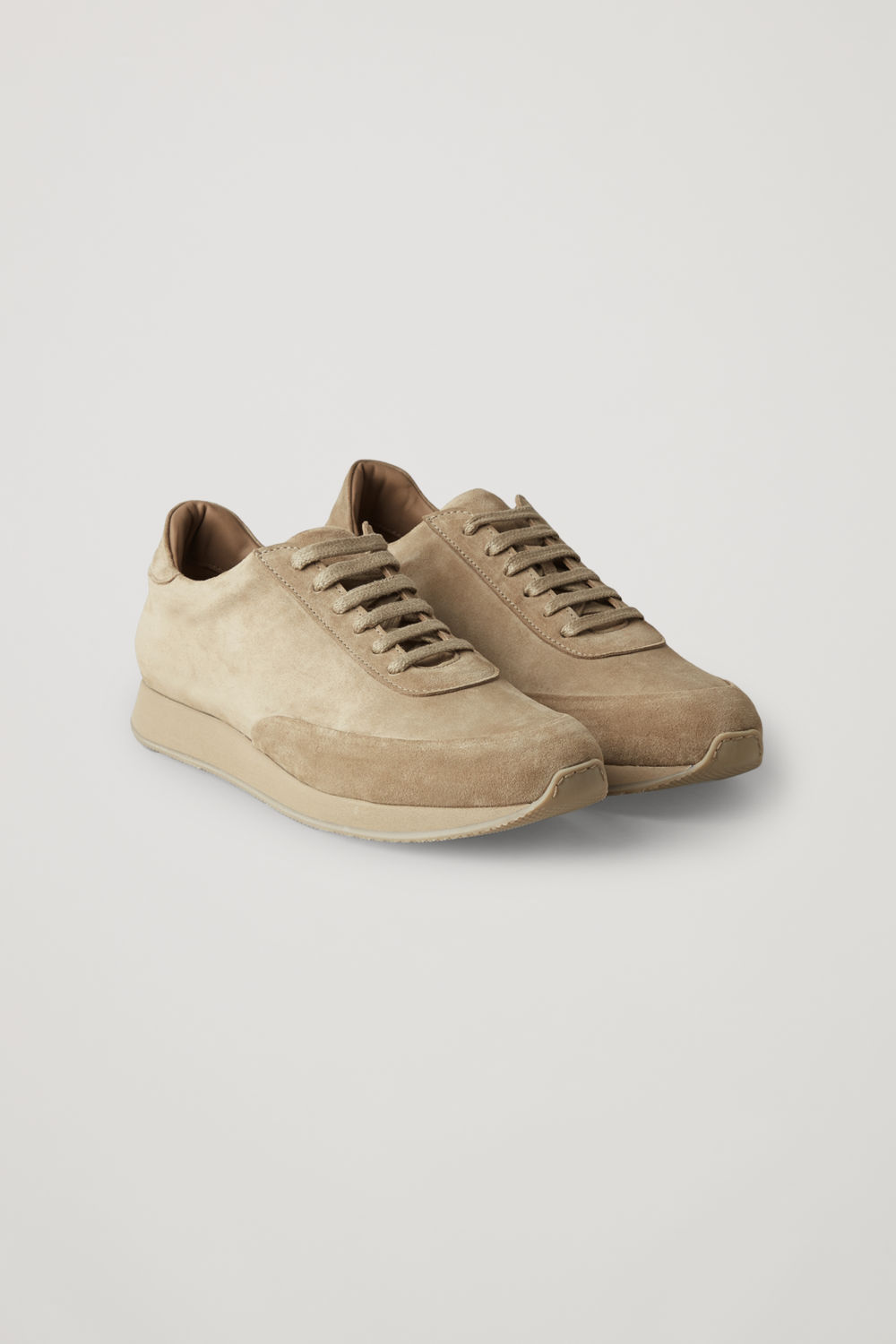 Front image of Cos suede sneakers  in beige