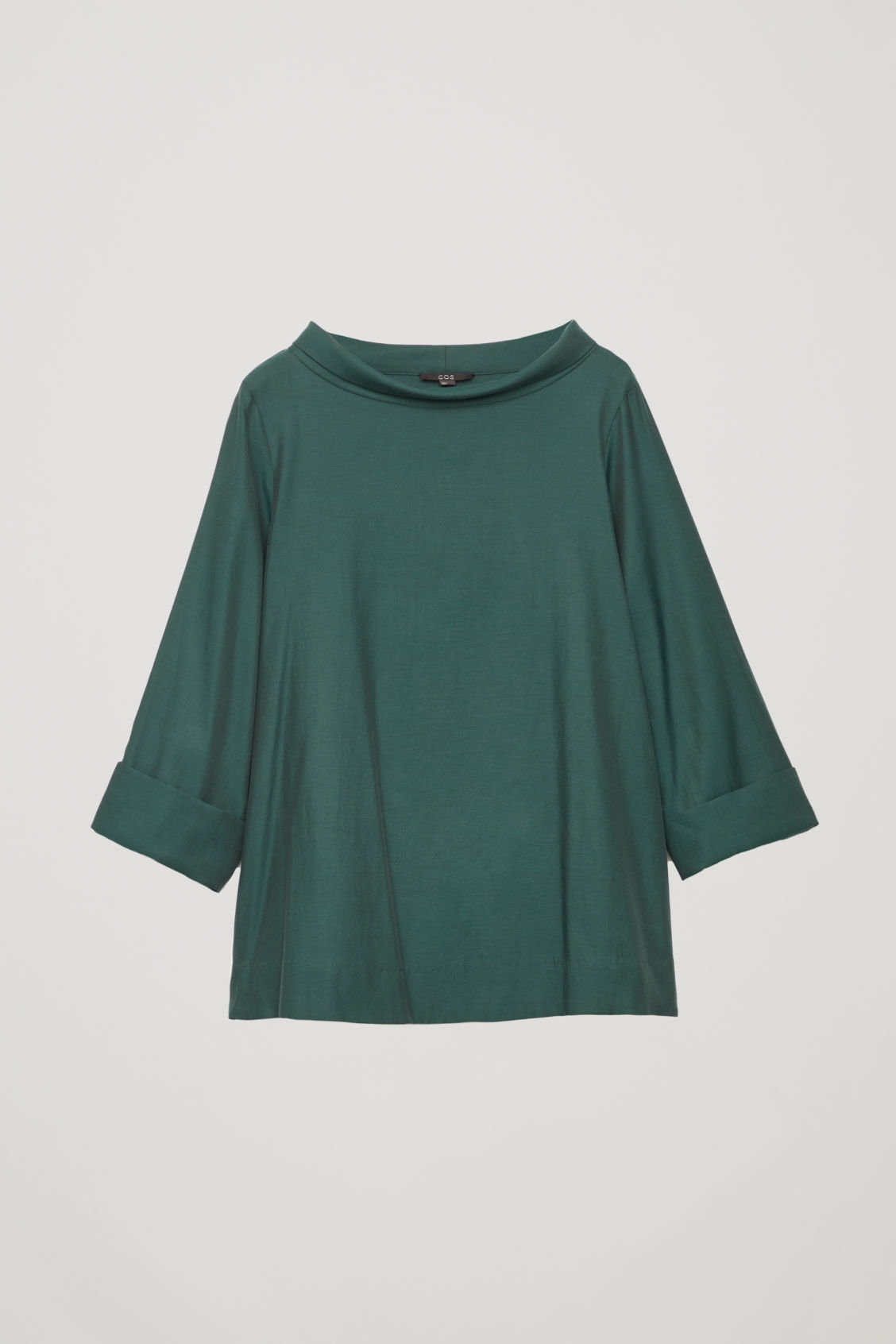 Front image of Cos folded-collar draped blouse in green