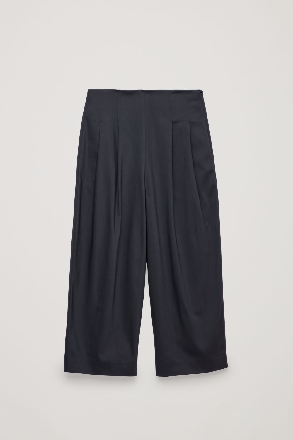 Front image of Cos stretch-cotton pleated trousers in blue