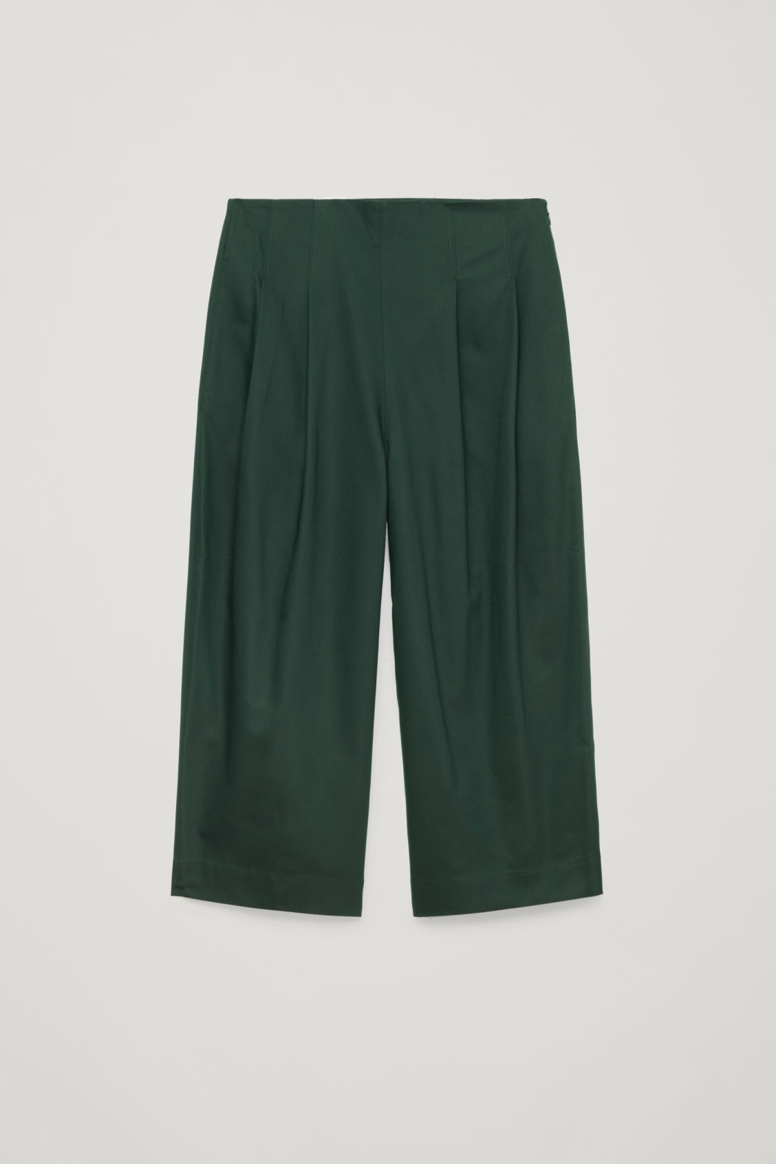 Front image of Cos crop cotton pleated trousers in green