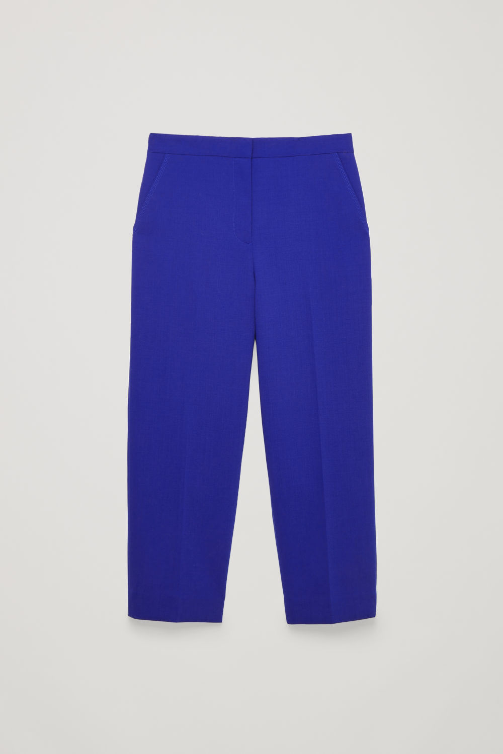 Front image of Cos topstitch straight-leg trousers in blue