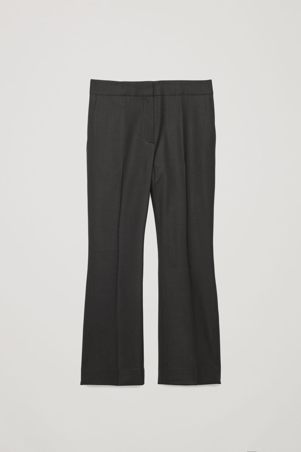 CROP KICK-FLARE WOOL TROUSERS