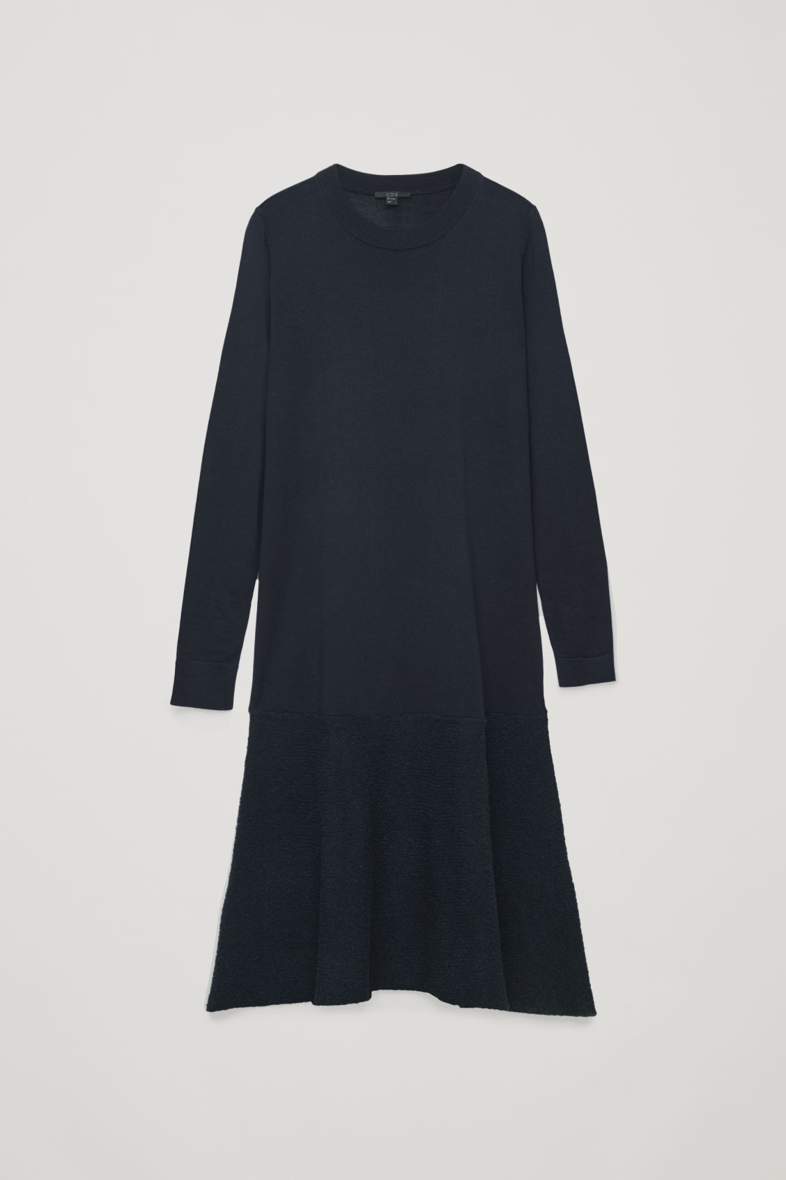 Front image of Cos boucle-panelled merino dress in blue