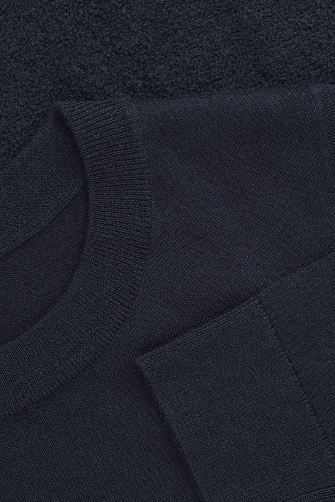 Side image of Cos boucle-panelled merino dress in blue
