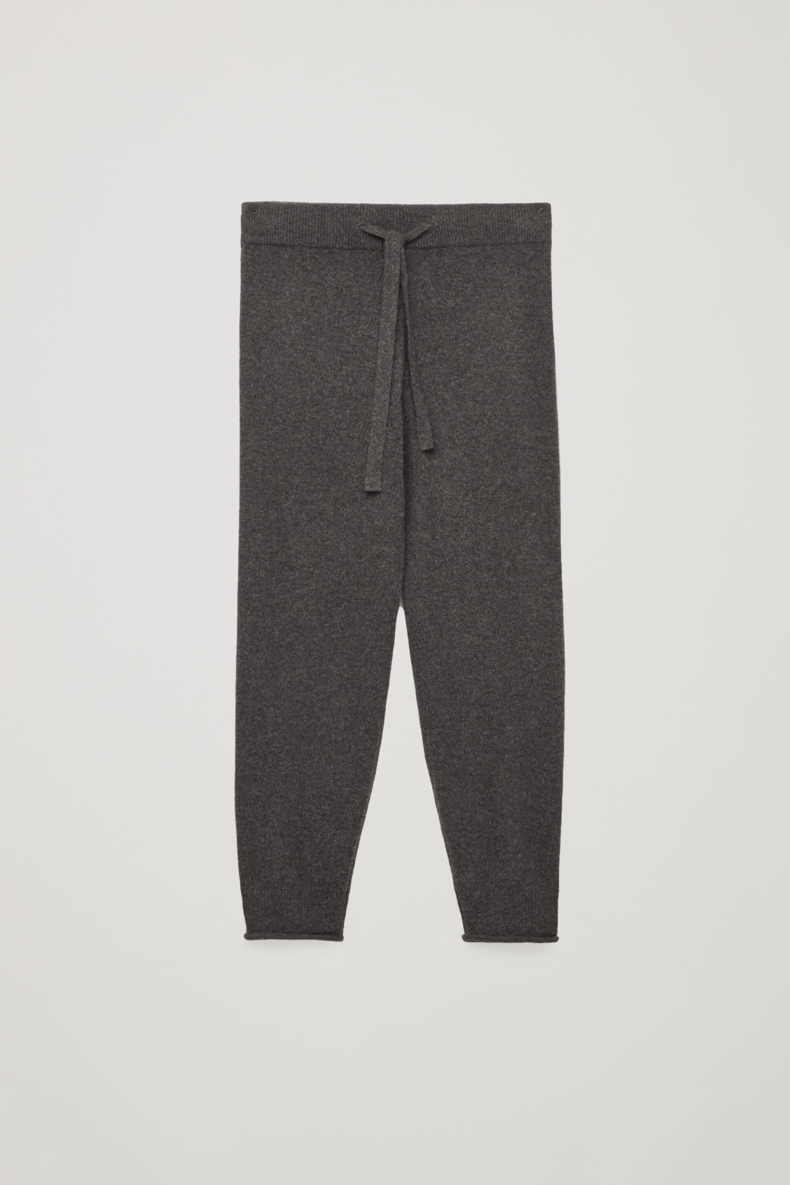 Front image of Cos cashmere drawstring trousers in grey
