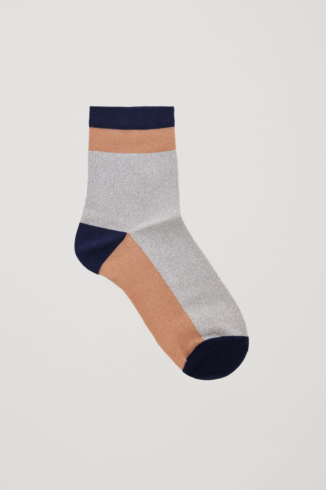 Front image of Cos colour-block metallic socks in blue