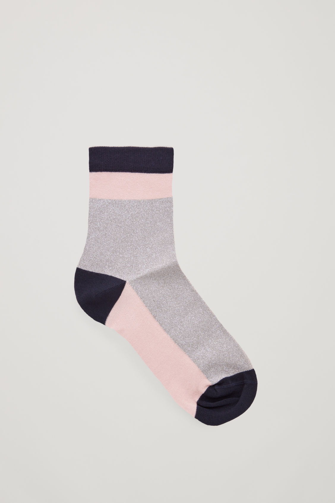 Front image of Cos colour-block metallic socks in pink