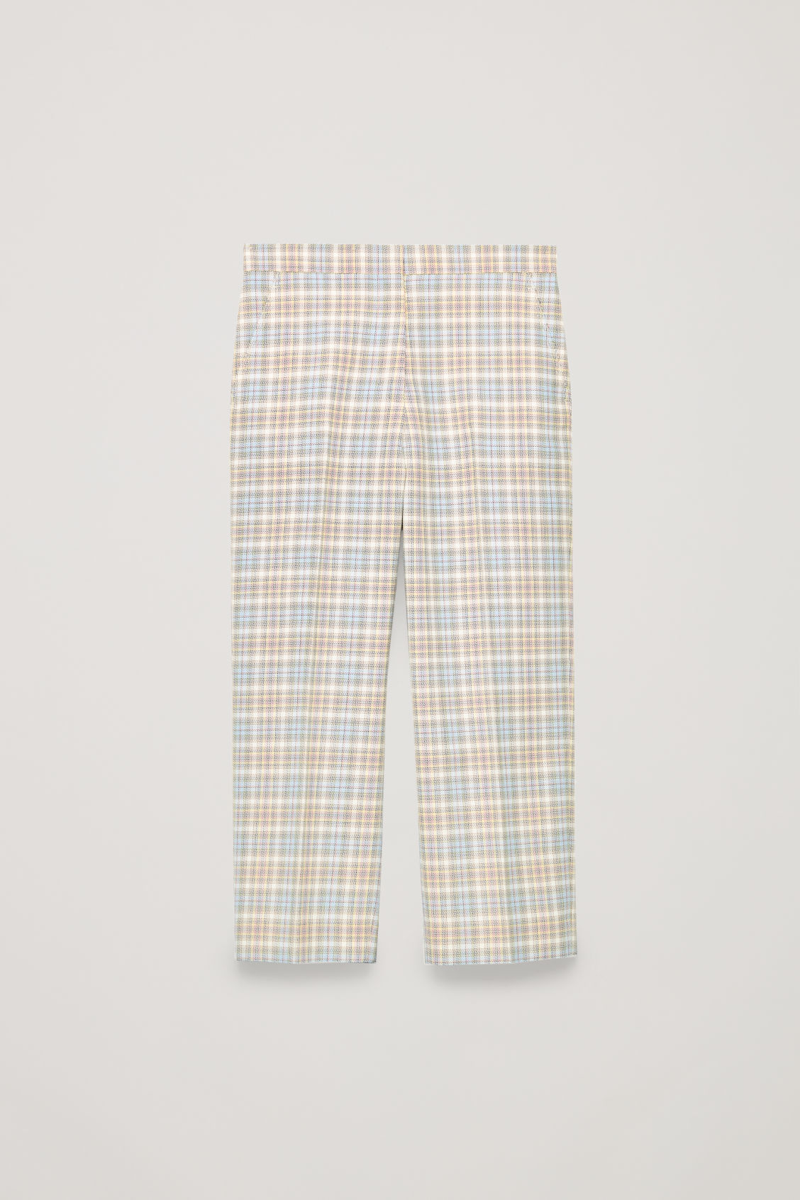 Front image of Cos straight-leg checked trousers in white