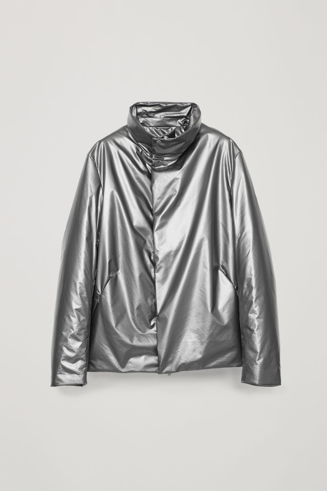 Front image of Cos padded high-neck jacket in grey
