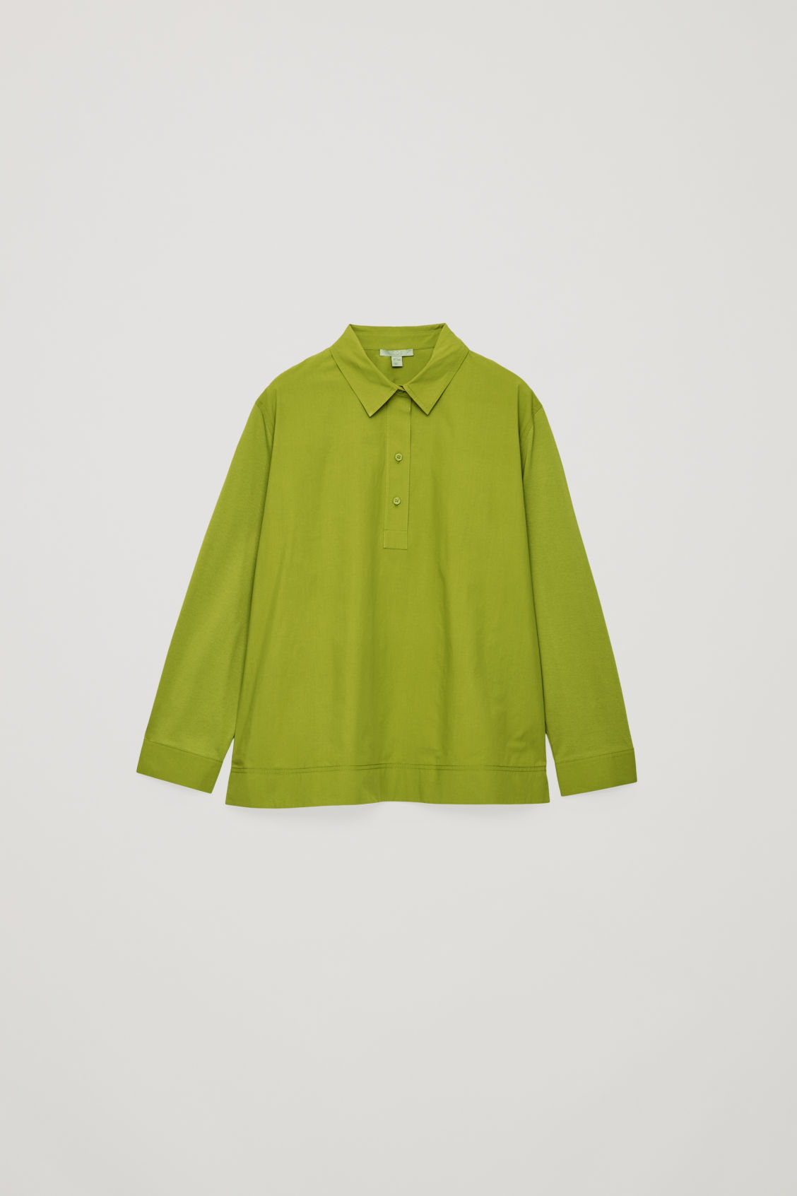 Front image of Cos woven-jersey mix shirt in green