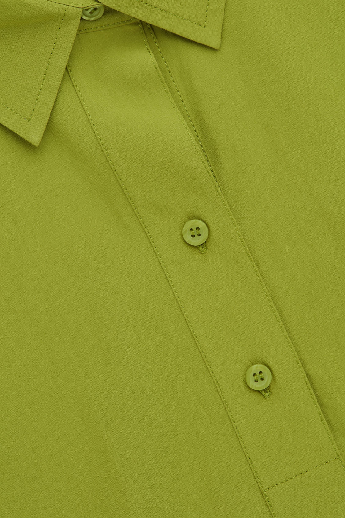Side image of Cos woven-jersey mix shirt in green
