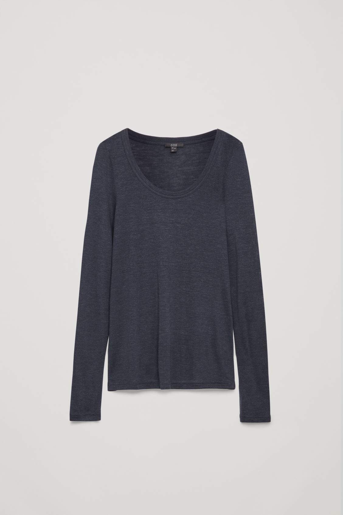 Front image of Cos silk-linen long-sleeved top in blue