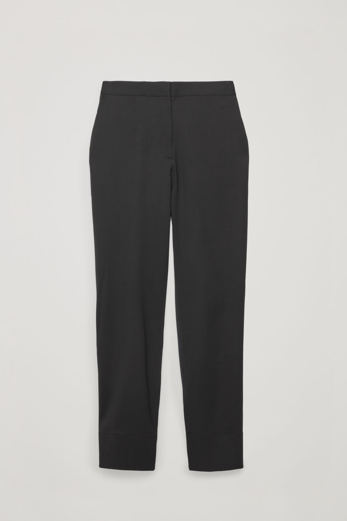 Front image of Cos woven-jersey mix trousers in black