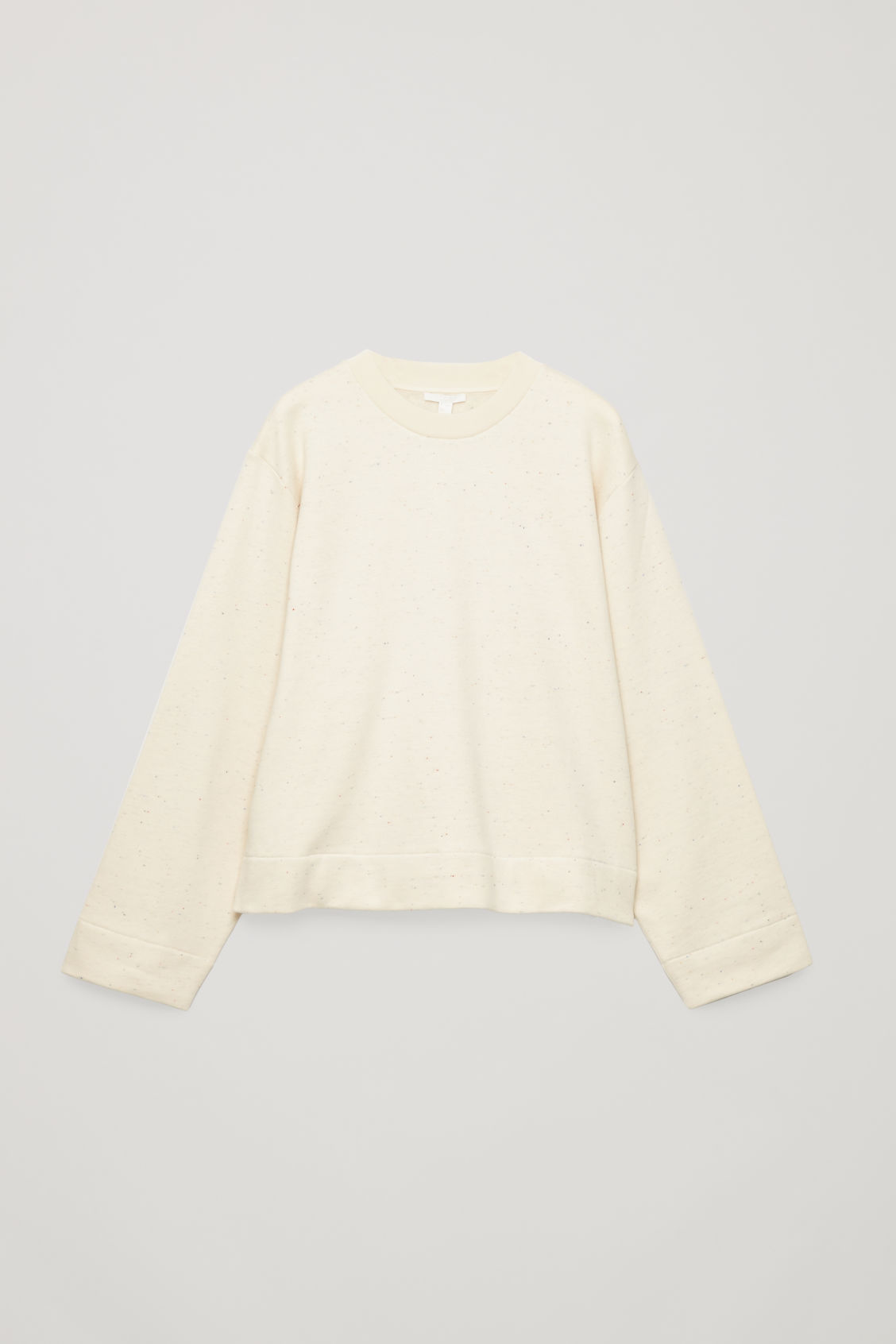 Front image of Cos speckled jersey sweatshirt in beige