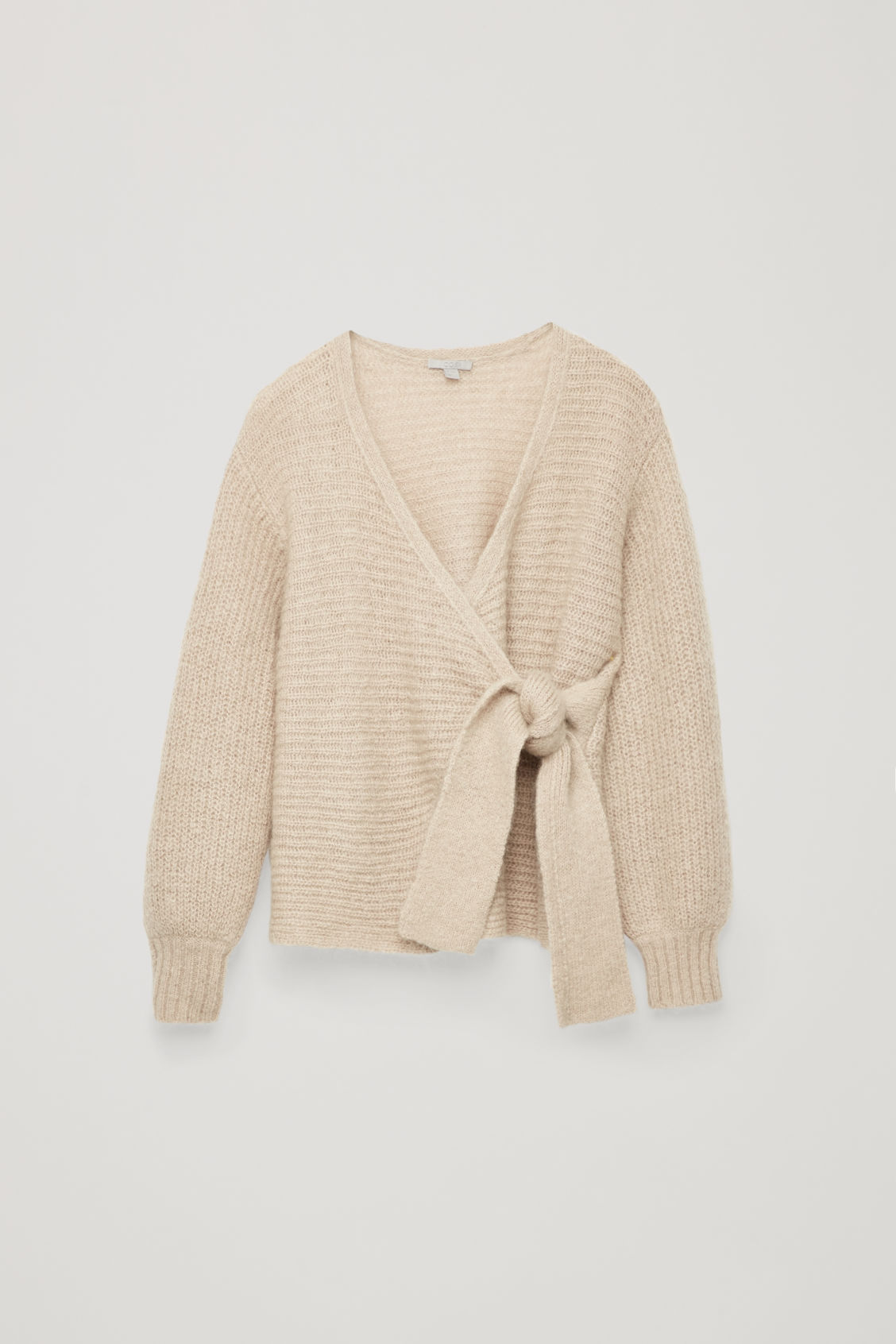 Front image of Cos chunky wool wrap cardigan in brown