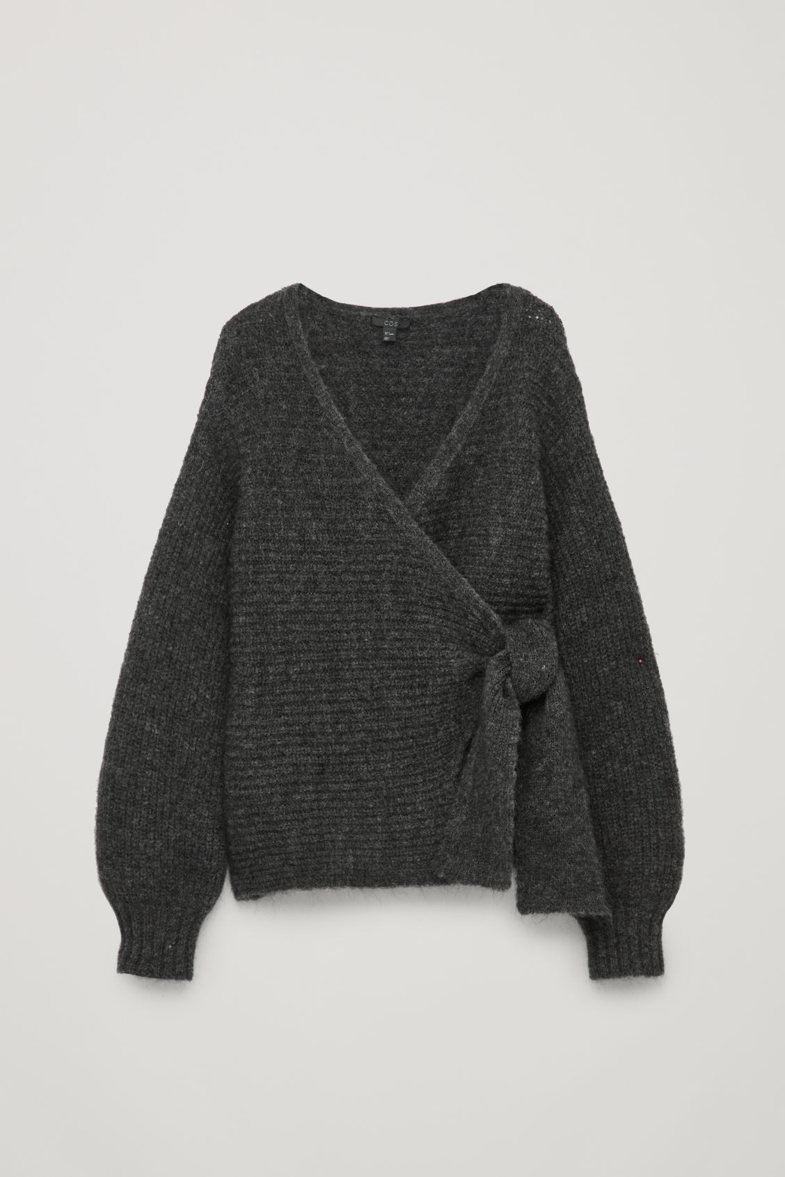 Front image of Cos chunky-knit wrap cardigan in grey