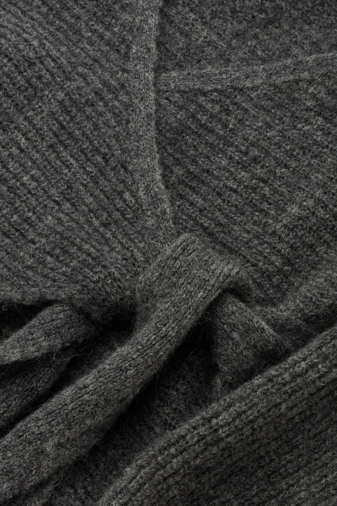 Side image of Cos chunky-knit wrap cardigan in grey