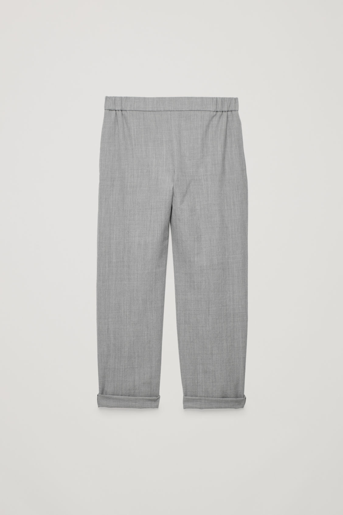Front image of Cos elastic-waist wool trousers in grey