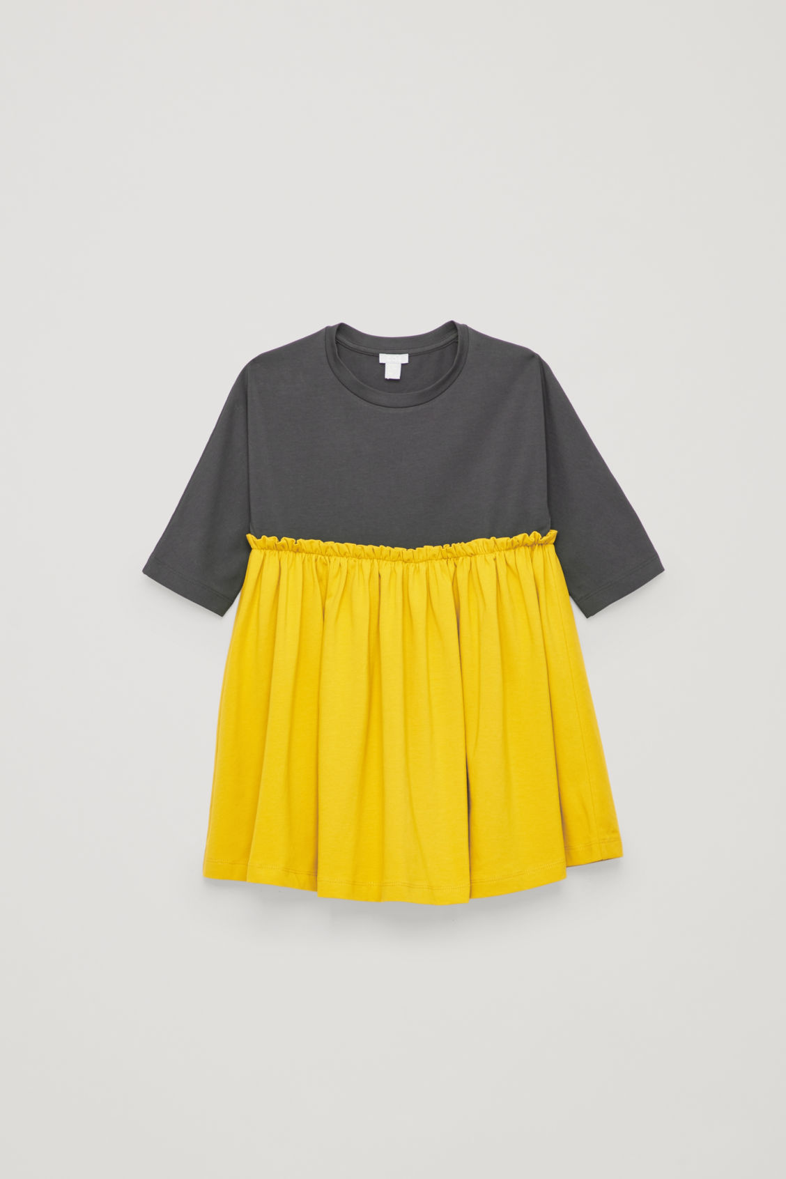 Front image of Cos gathered long-sleeved dress in grey