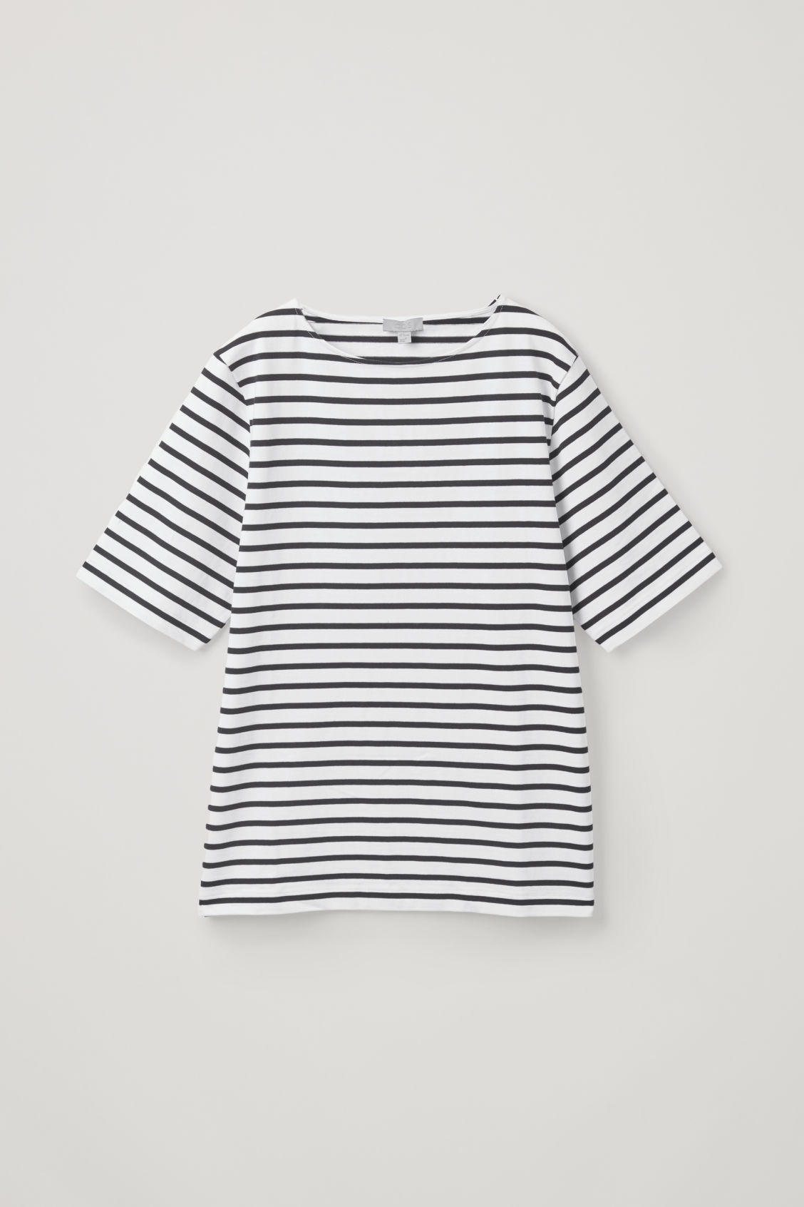 Front image of Cos cotton breton-striped t-shirt in white