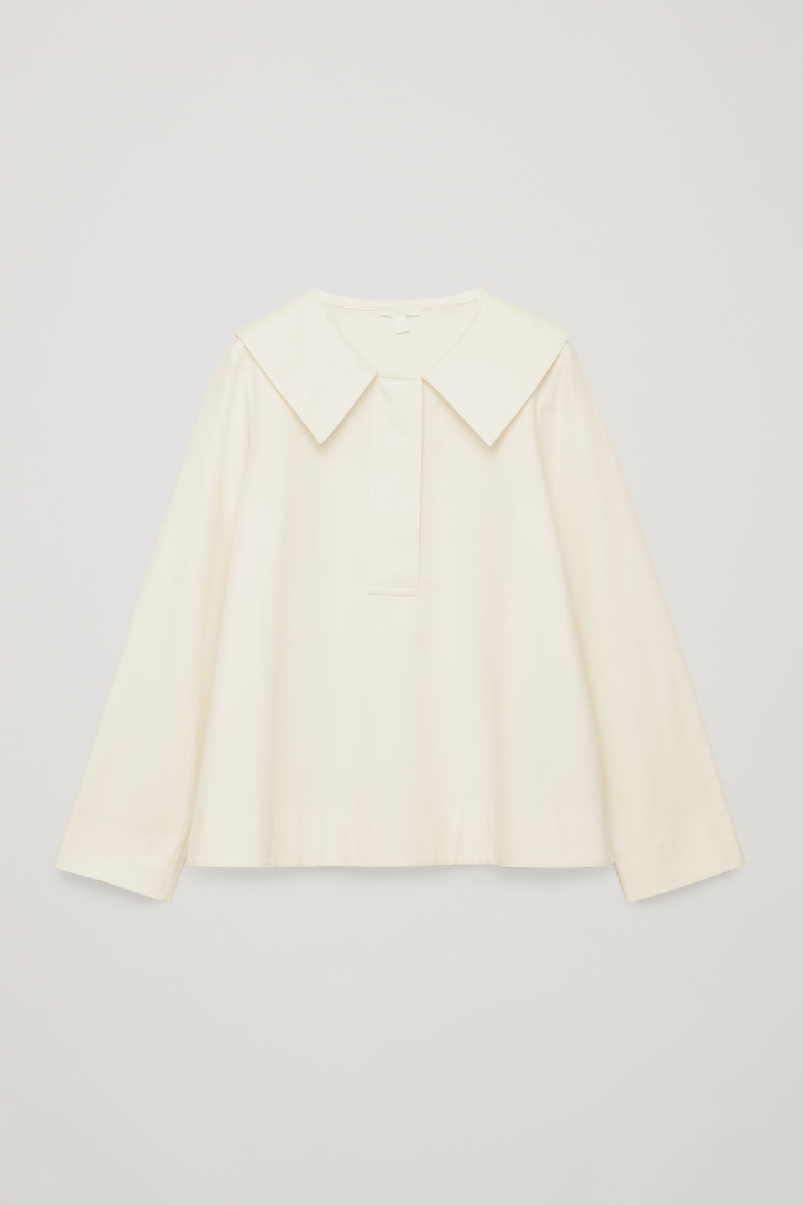 Front image of Cos oversized-collar cotton top in white