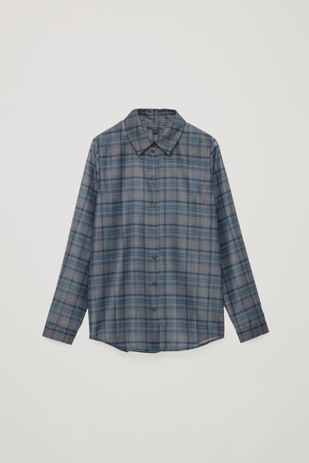 Front image of Cos checked slim-fit shirt in blue