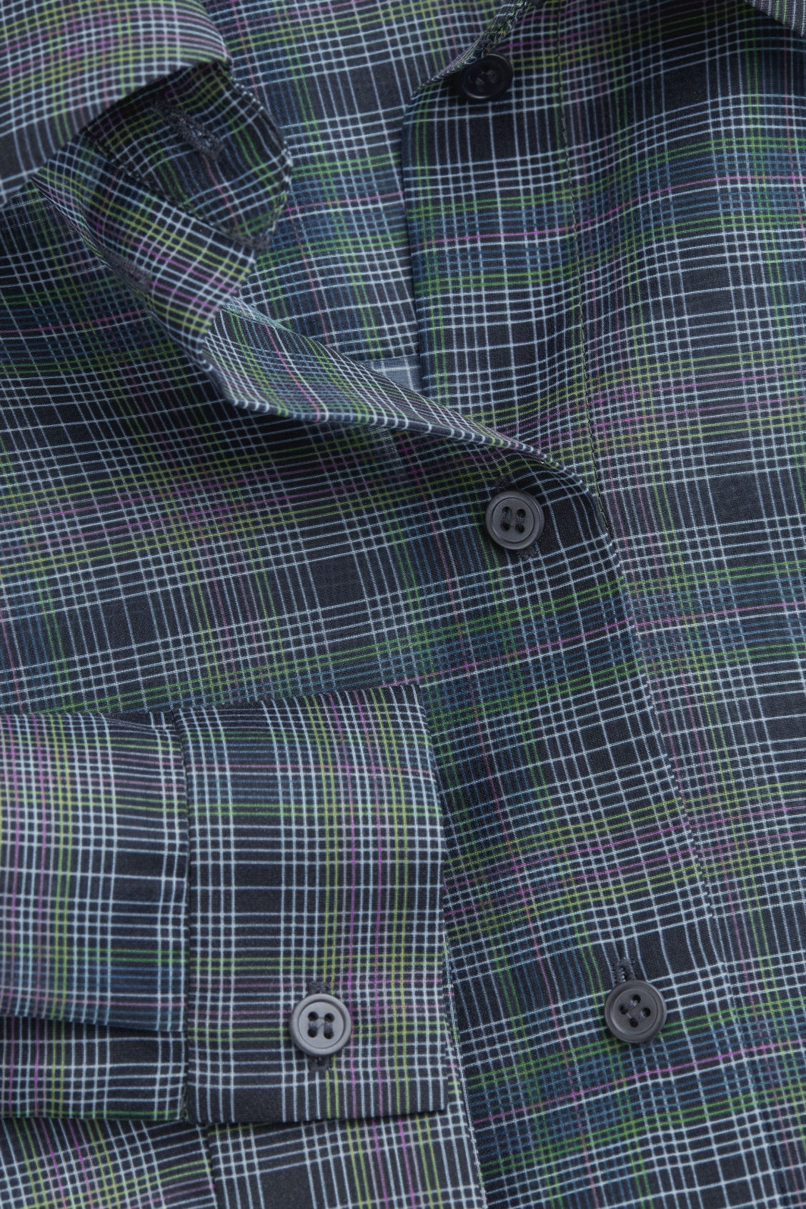 Side image of Cos checked slim-fit shirt in blue