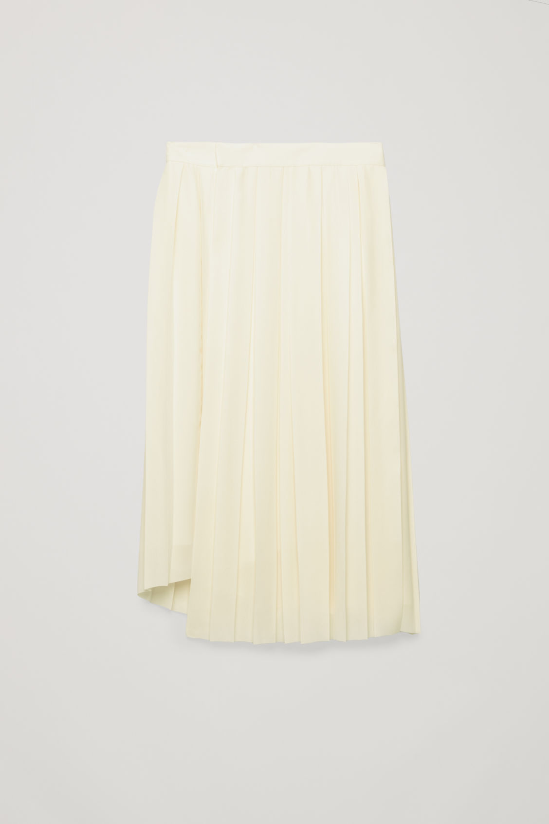 Front image of Cos asymmetric pleated wrap skirt in white