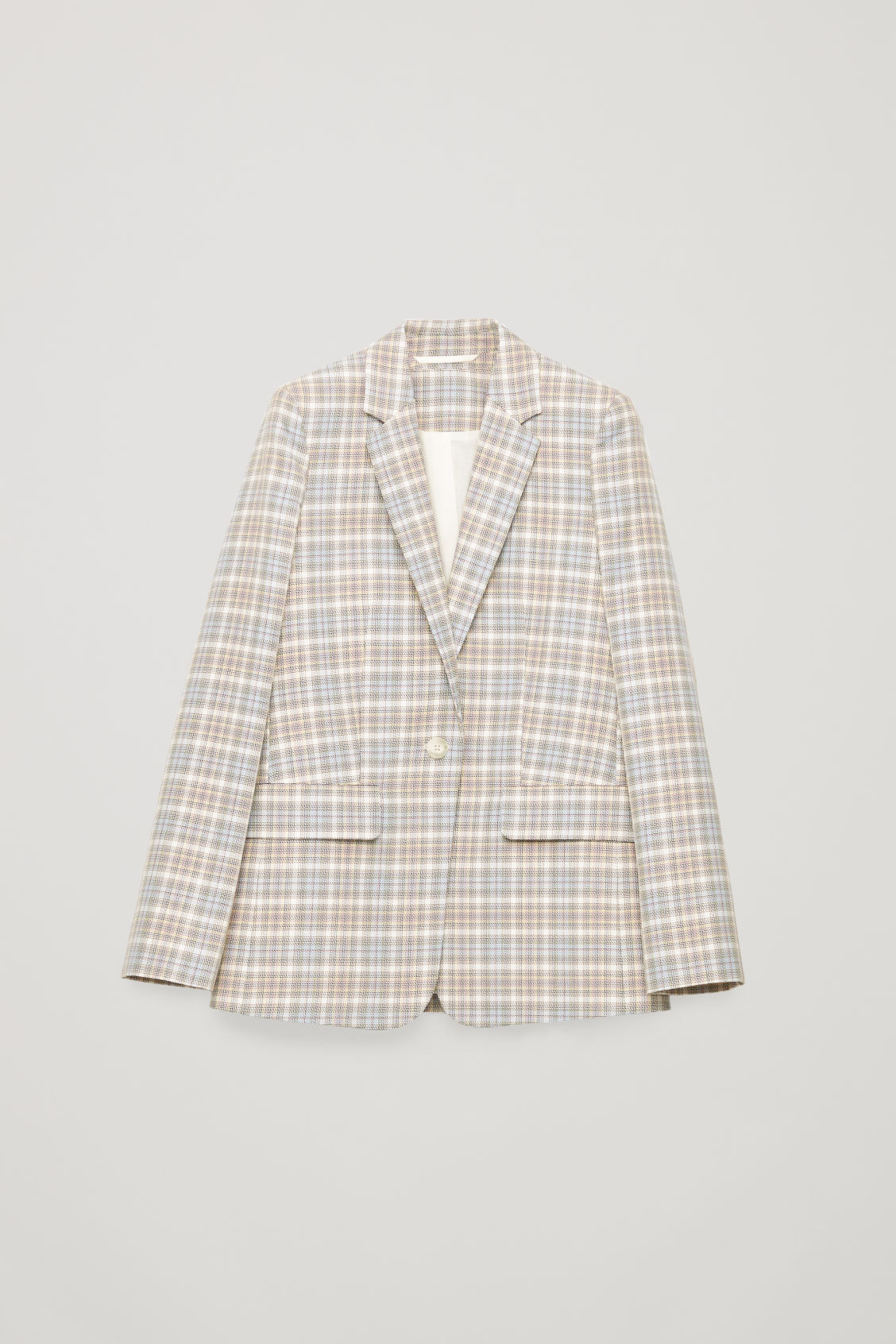 Front image of Cos checked slim-fit blazer in beige