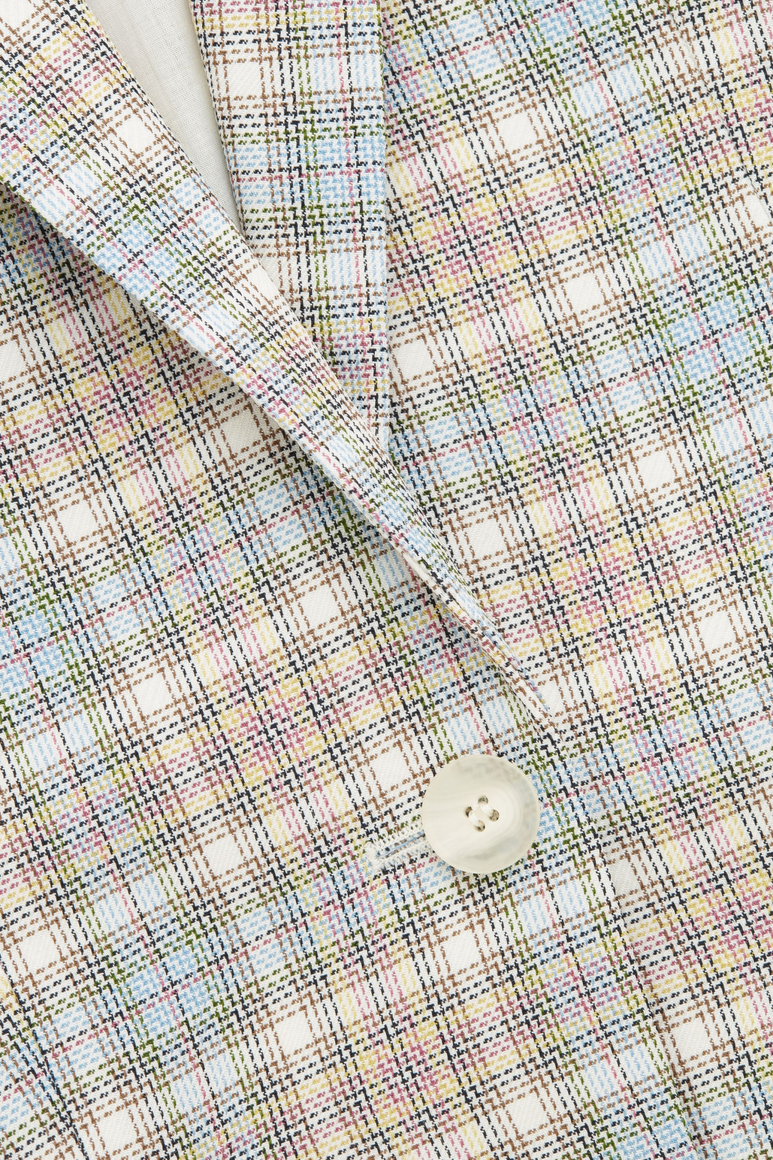 Side image of Cos checked slim-fit blazer in beige