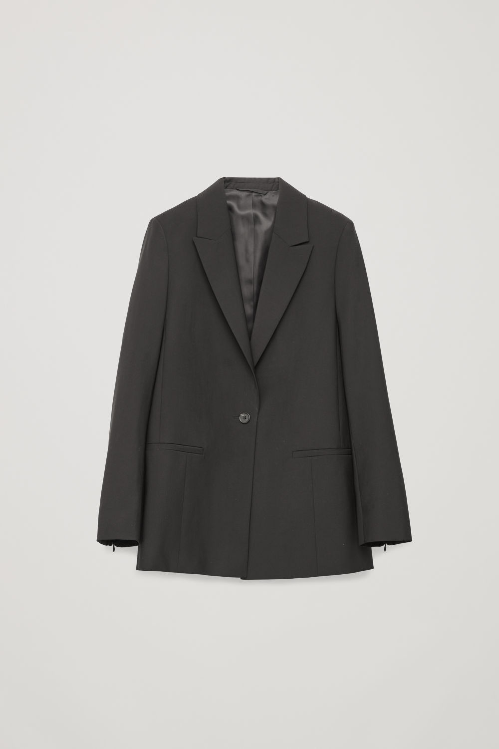 Front image of Cos single-breasted blazer with zips in black
