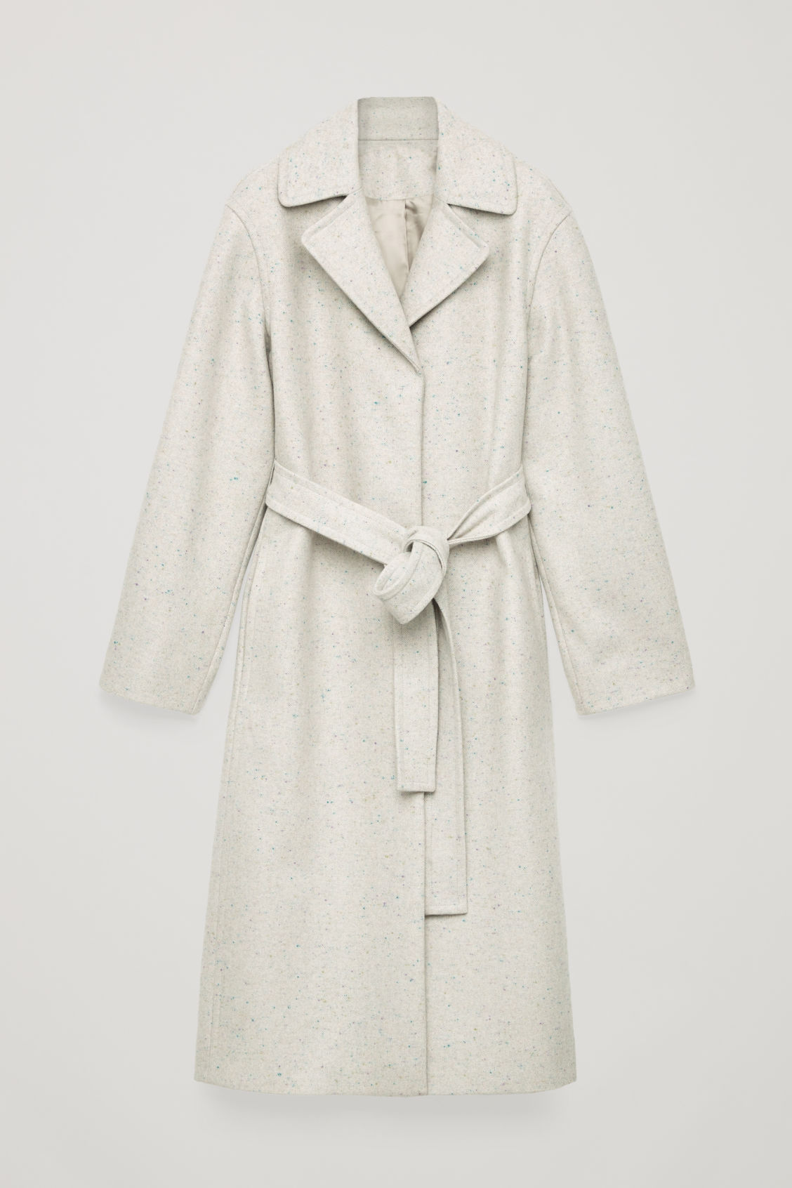 Front image of Cos speckled wool trench coat in beige