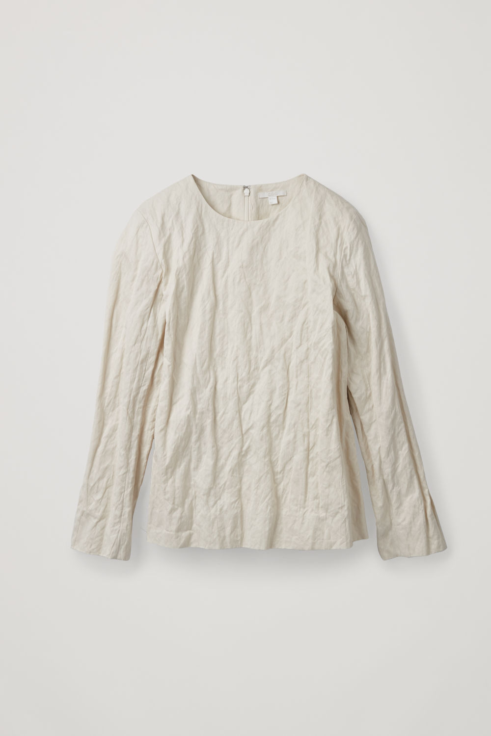 Front image of Cos crushed long-sleeved top in white