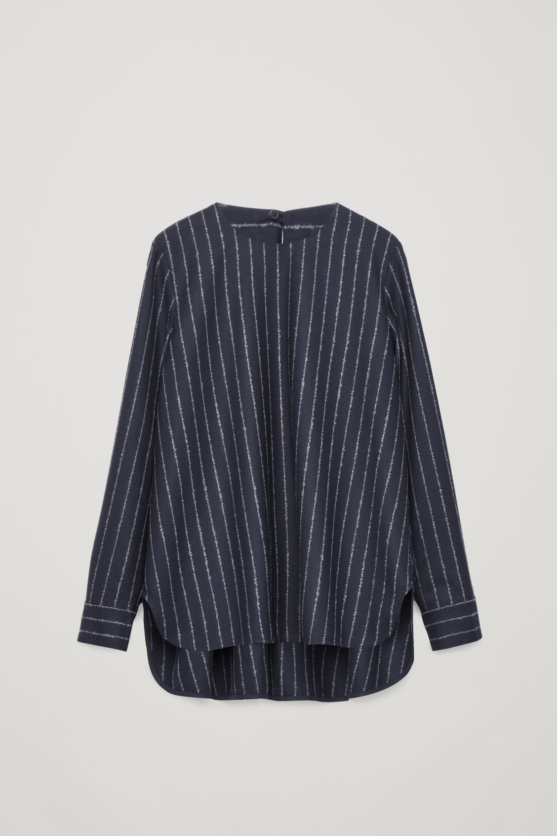 Front image of Cos boucle-pinstiped wool blouse in blue