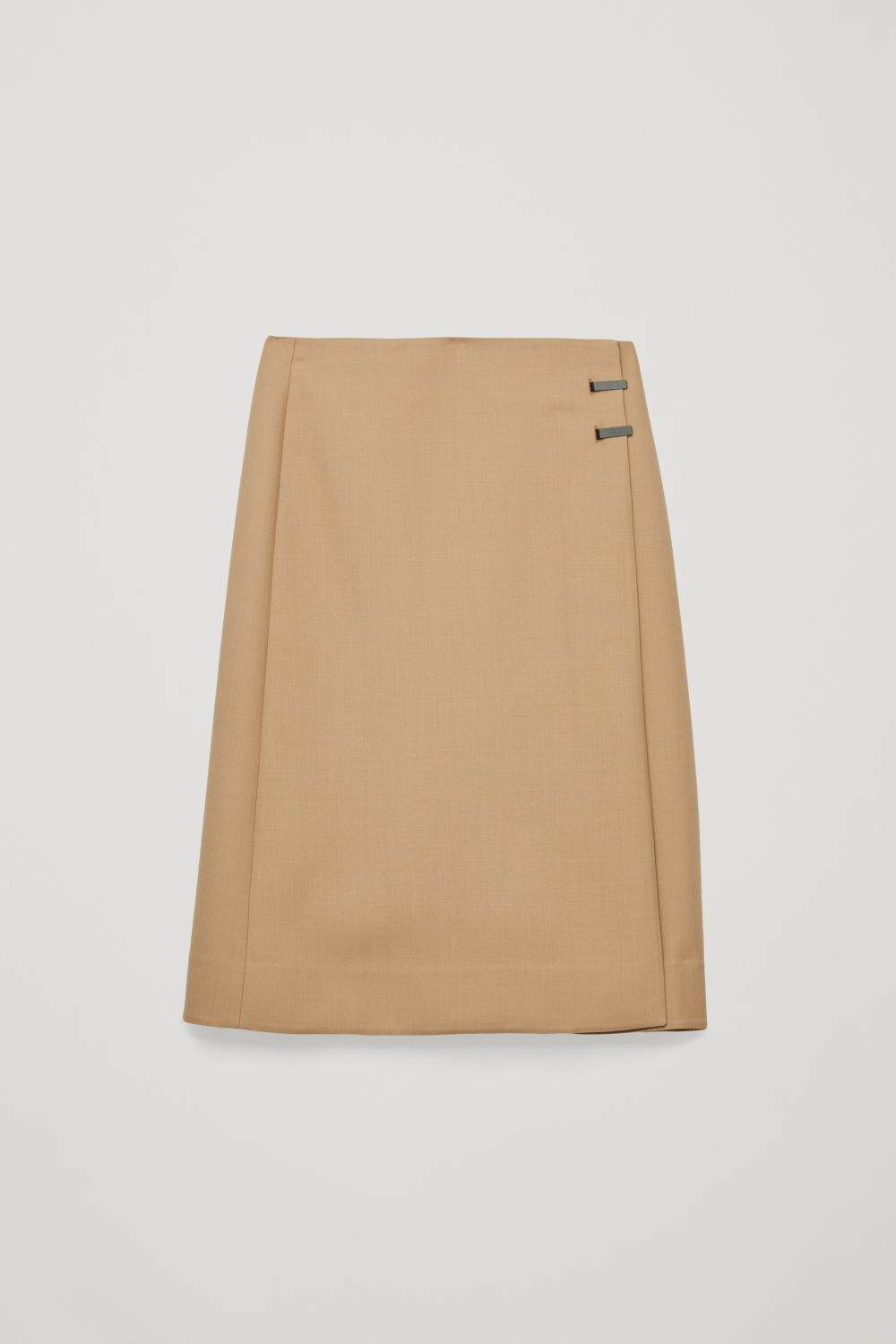Front image of Cos clip-buckle wrap skirt in beige