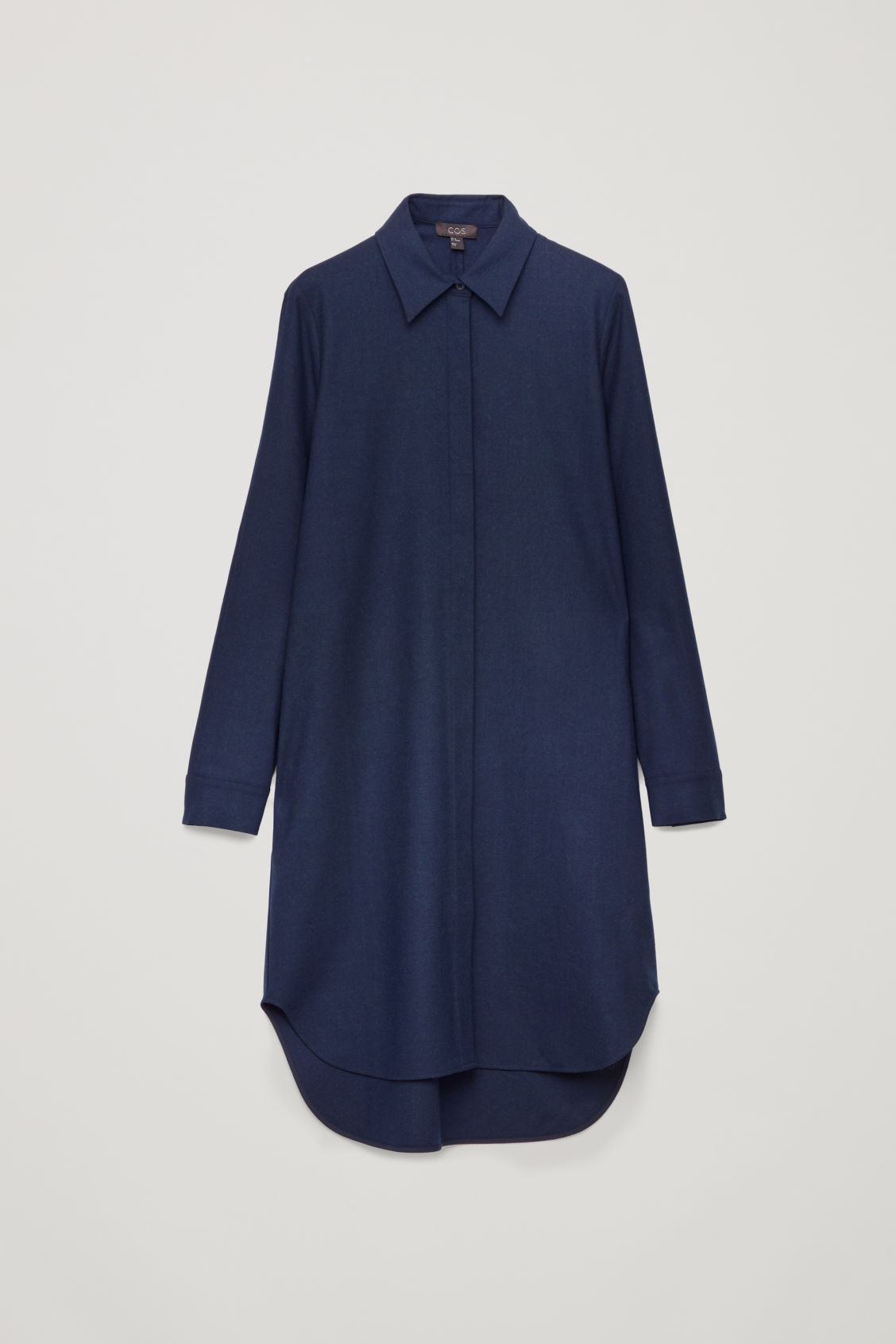 Front image of Cos wool shirt dress in blue