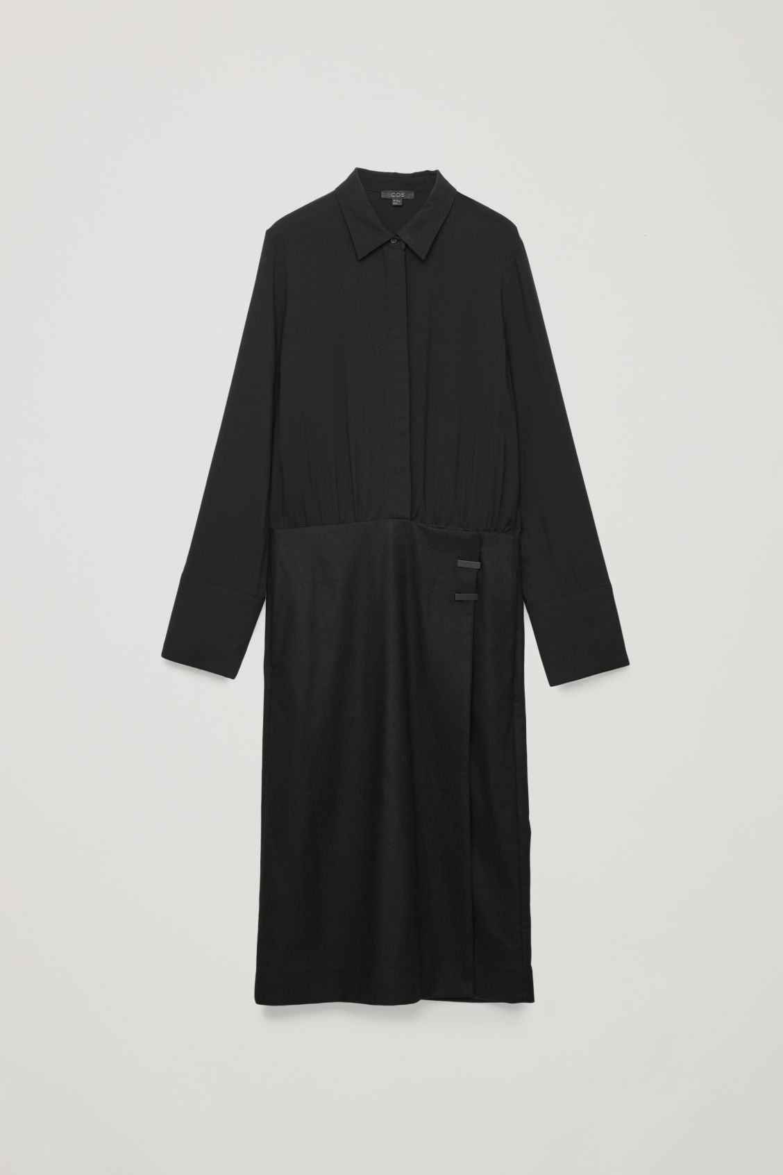Front image of Cos long coat dress in black