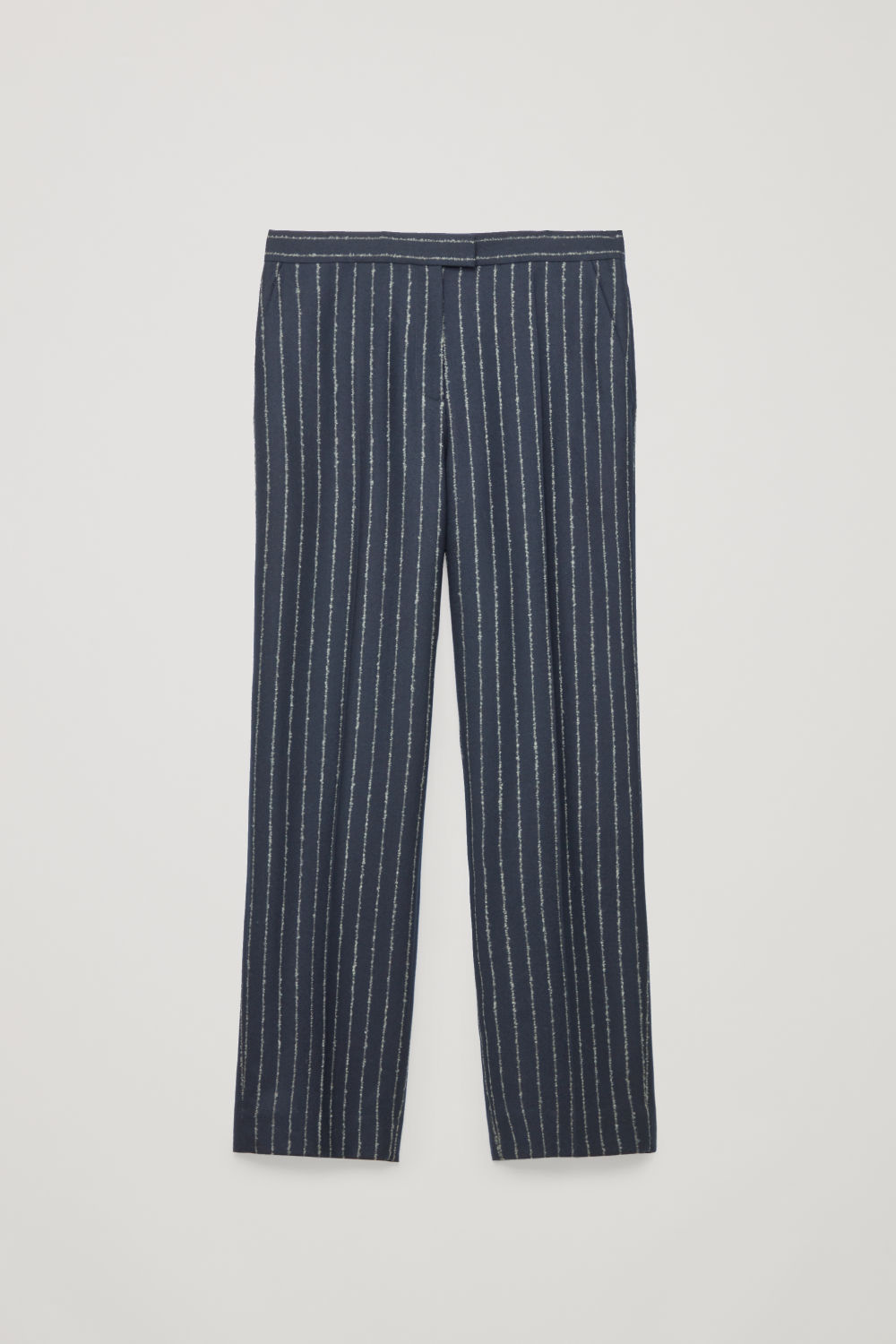 Front image of Cos pinstriped wide wool trousers in blue