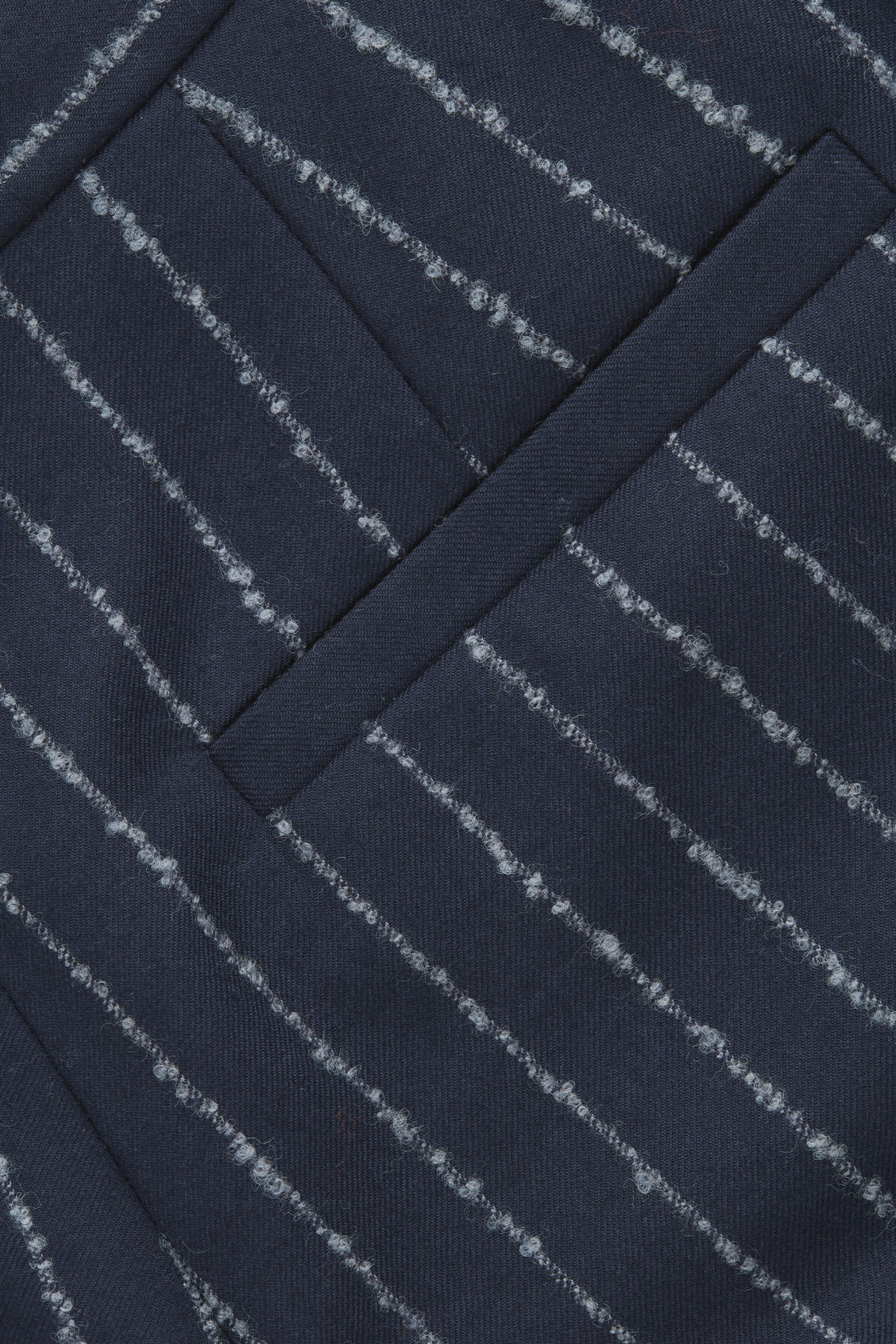 Side image of Cos pinstriped wide wool trousers in blue