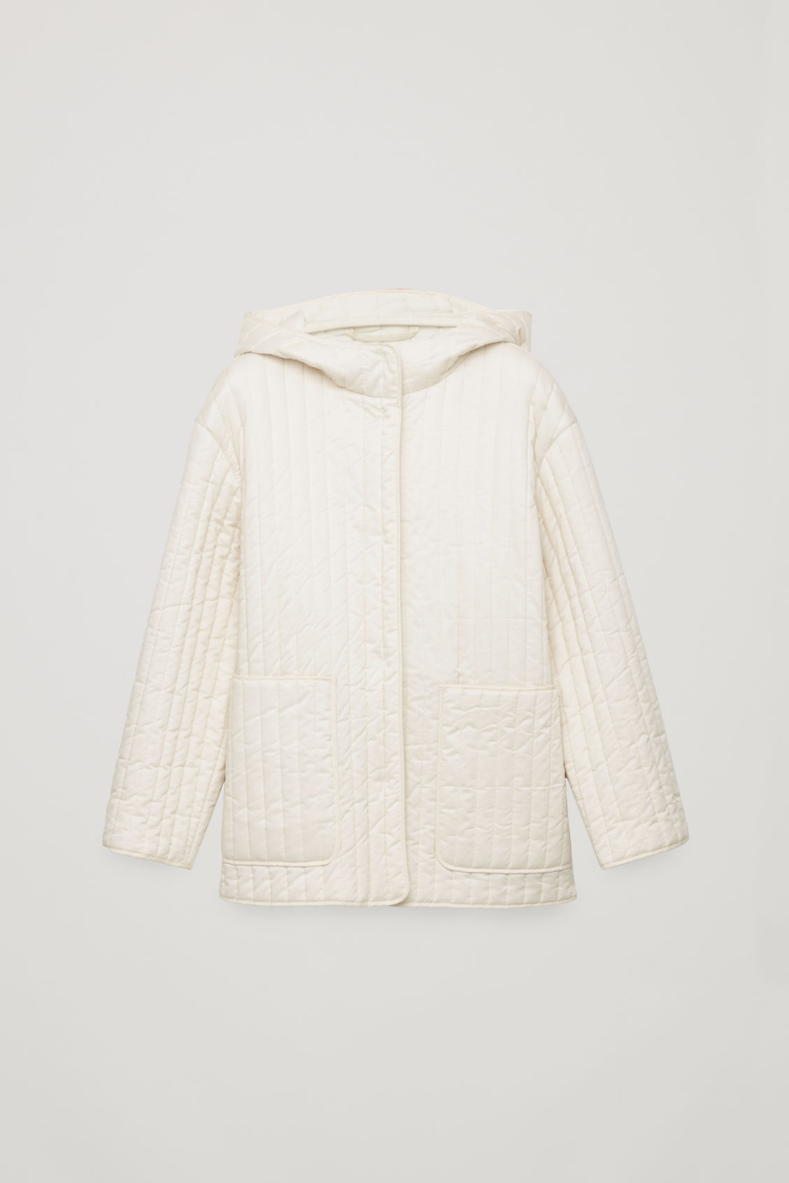 Front image of Cos hooded padded cotton jacket  in white