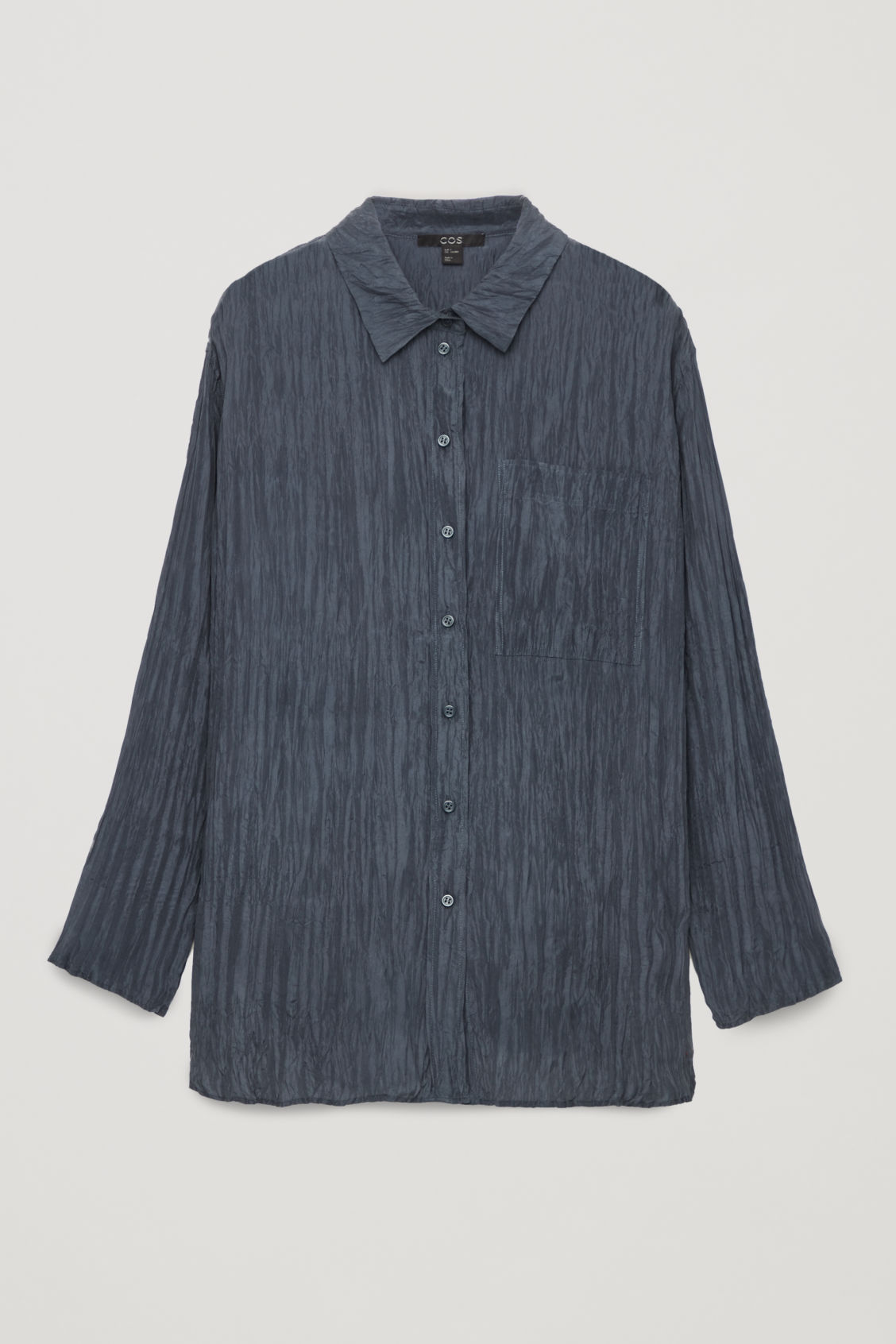 Front image of Cos crinkled silk shirt in blue