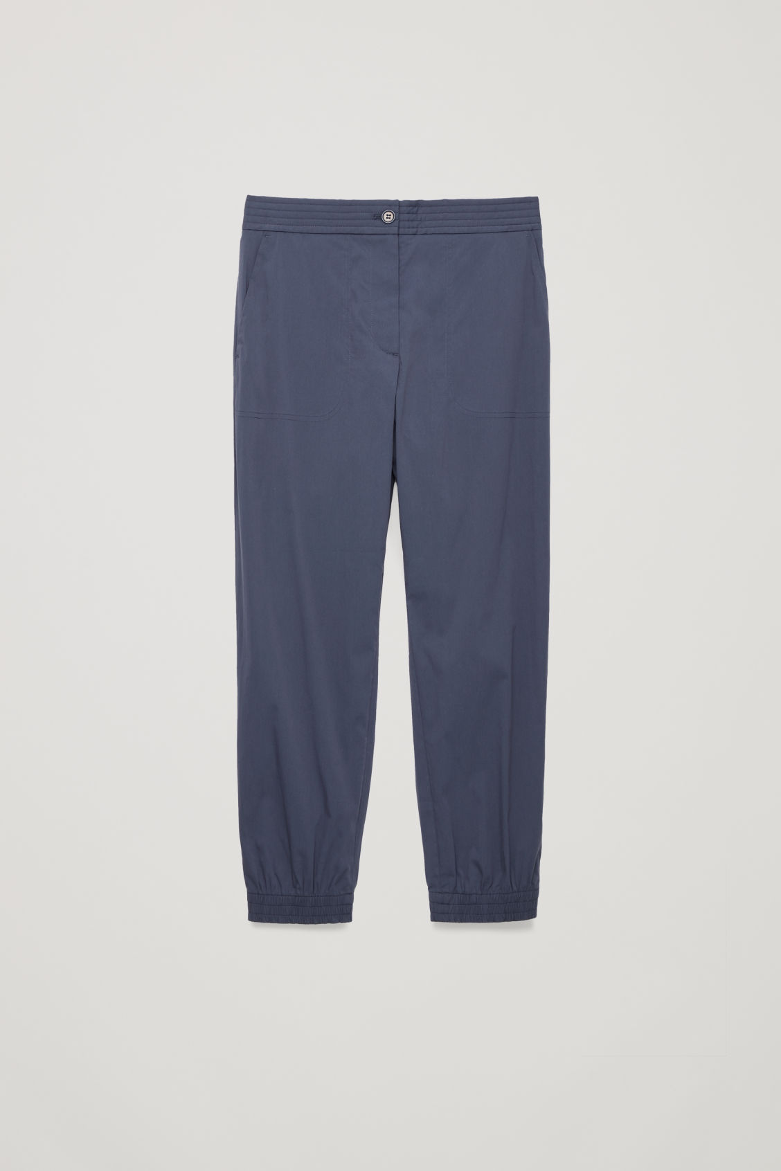 Front image of Cos padded-waist cotton trousers in blue