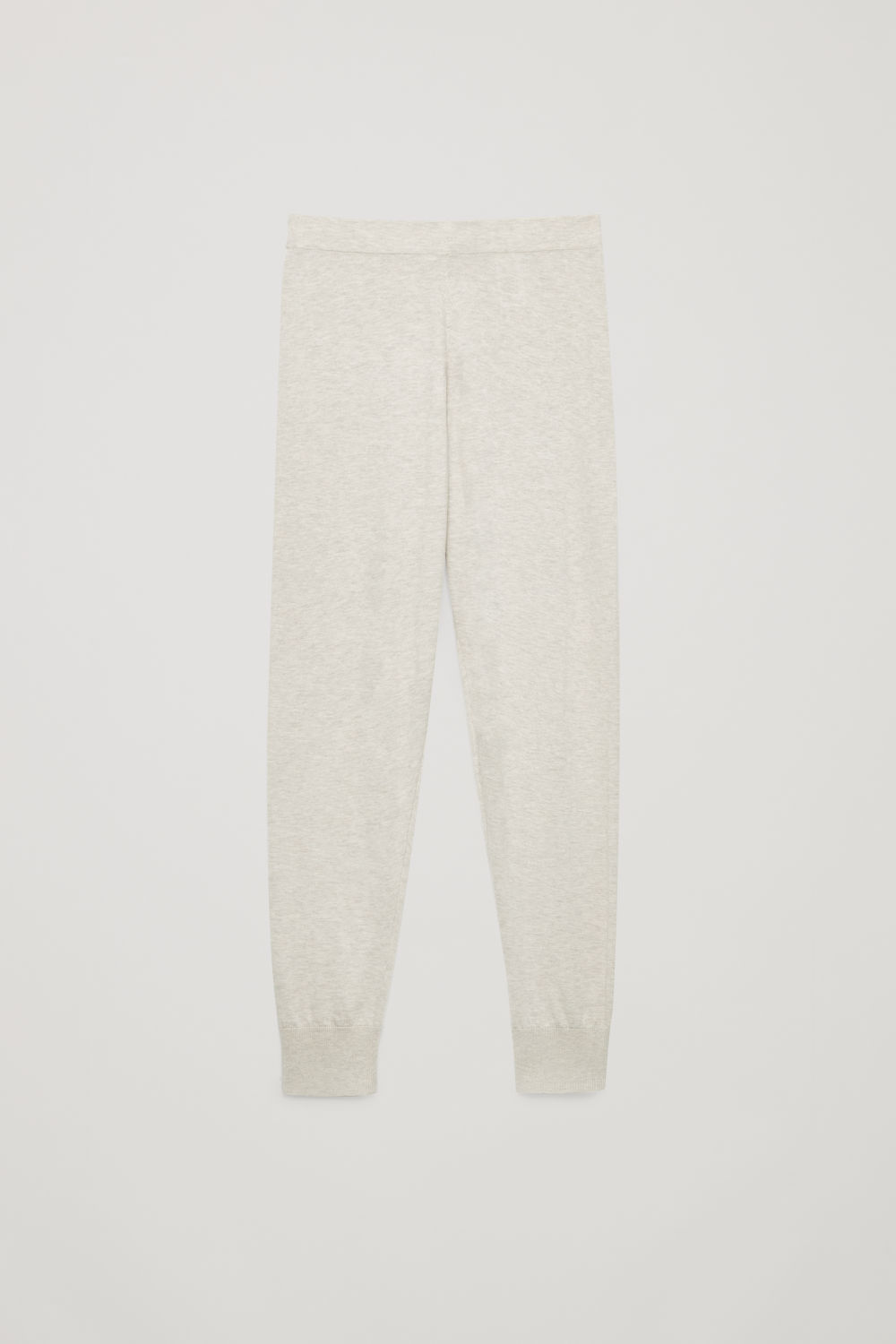 Front image of Cos cotton-cashmere knit trousers in beige