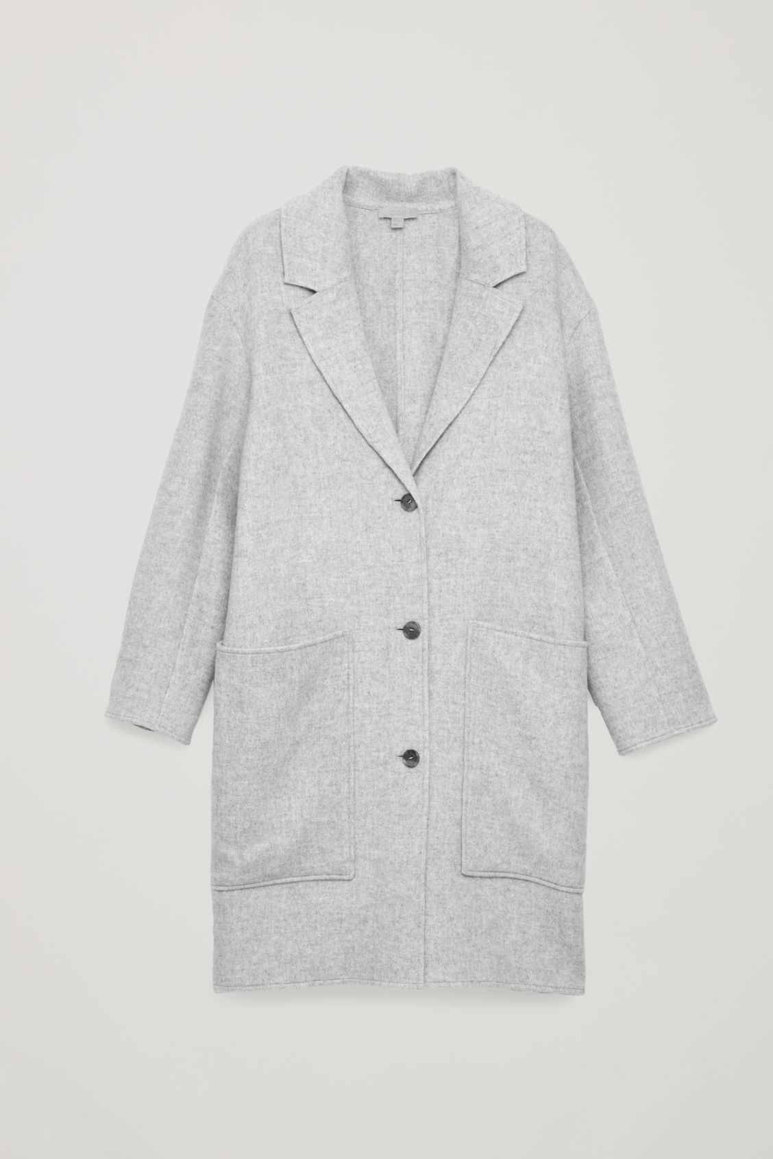 Front image of Cos wool coat with large pockets in grey