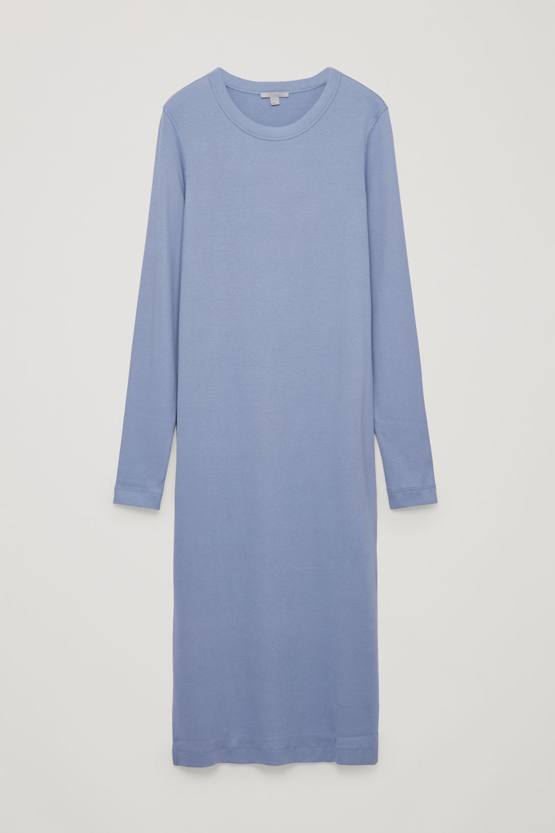 Front image of Cos ribbed strech-cotton jersey dress in blue