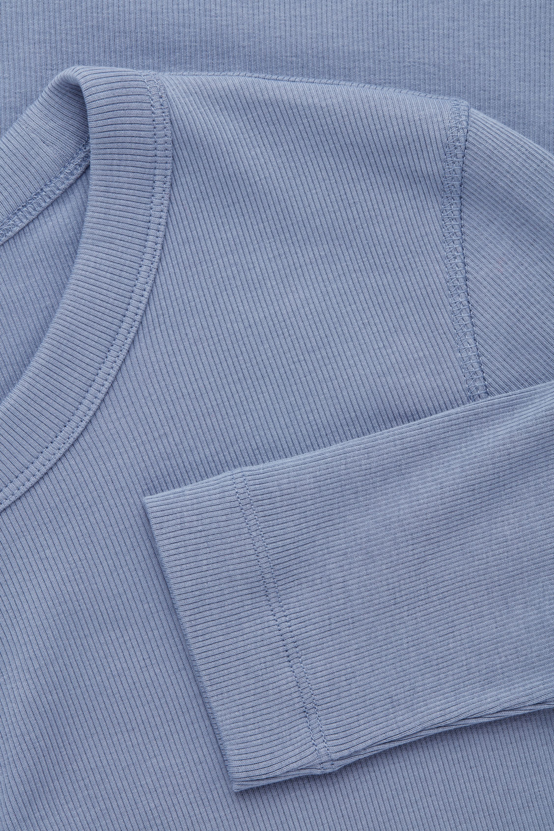 Side image of Cos ribbed strech-cotton jersey dress in blue